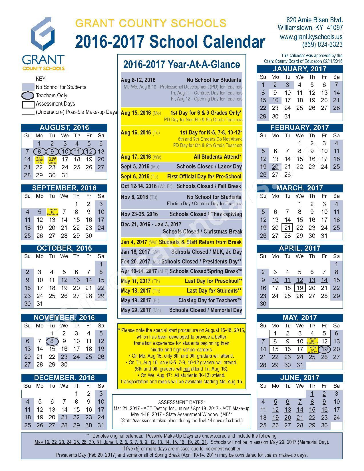 2016 - 2017 School Calendar – Grant County School District – page 1