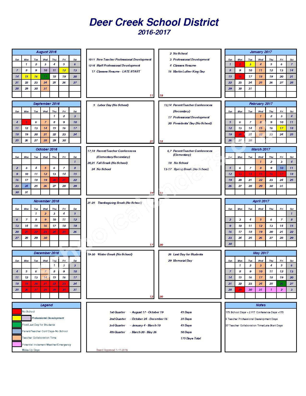 2016 - 2017 District Calendar – Deer Creek School District – page 1
