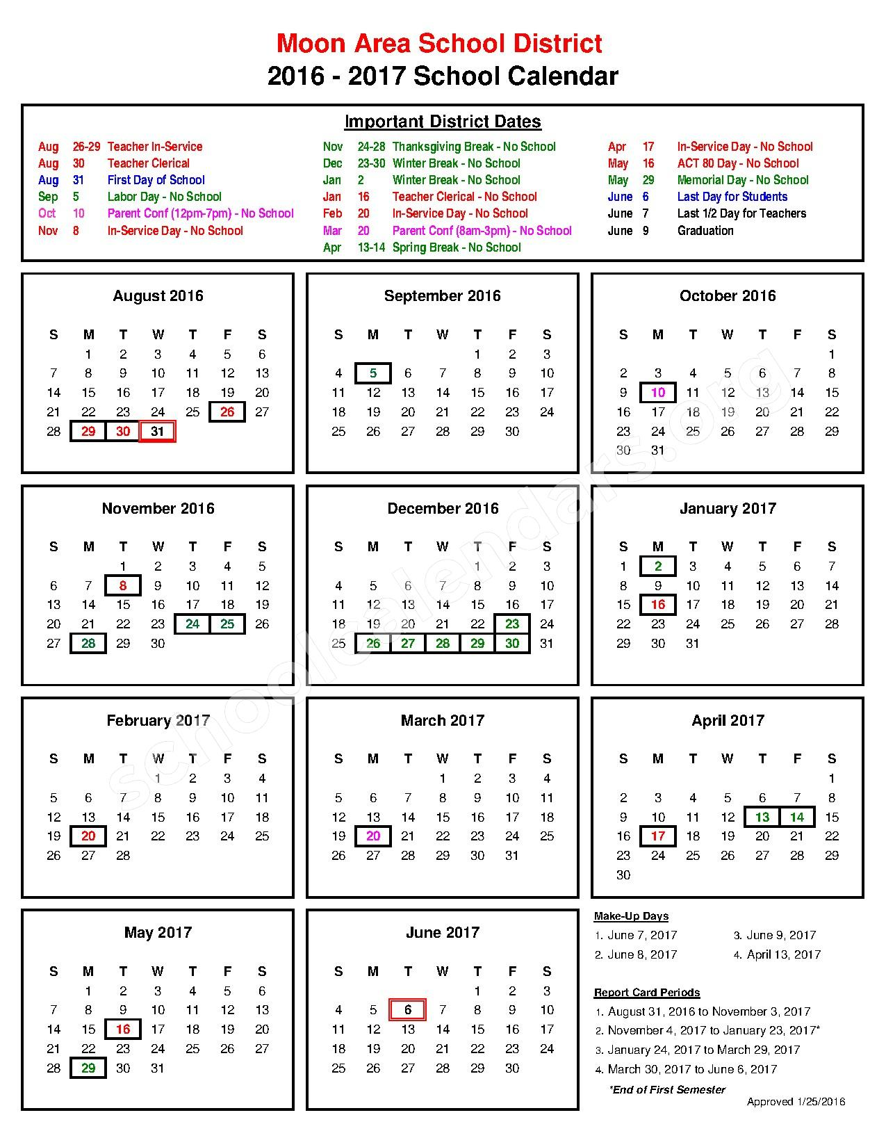 2016 - 2017 District Calendar – Moon Area School District – page 1