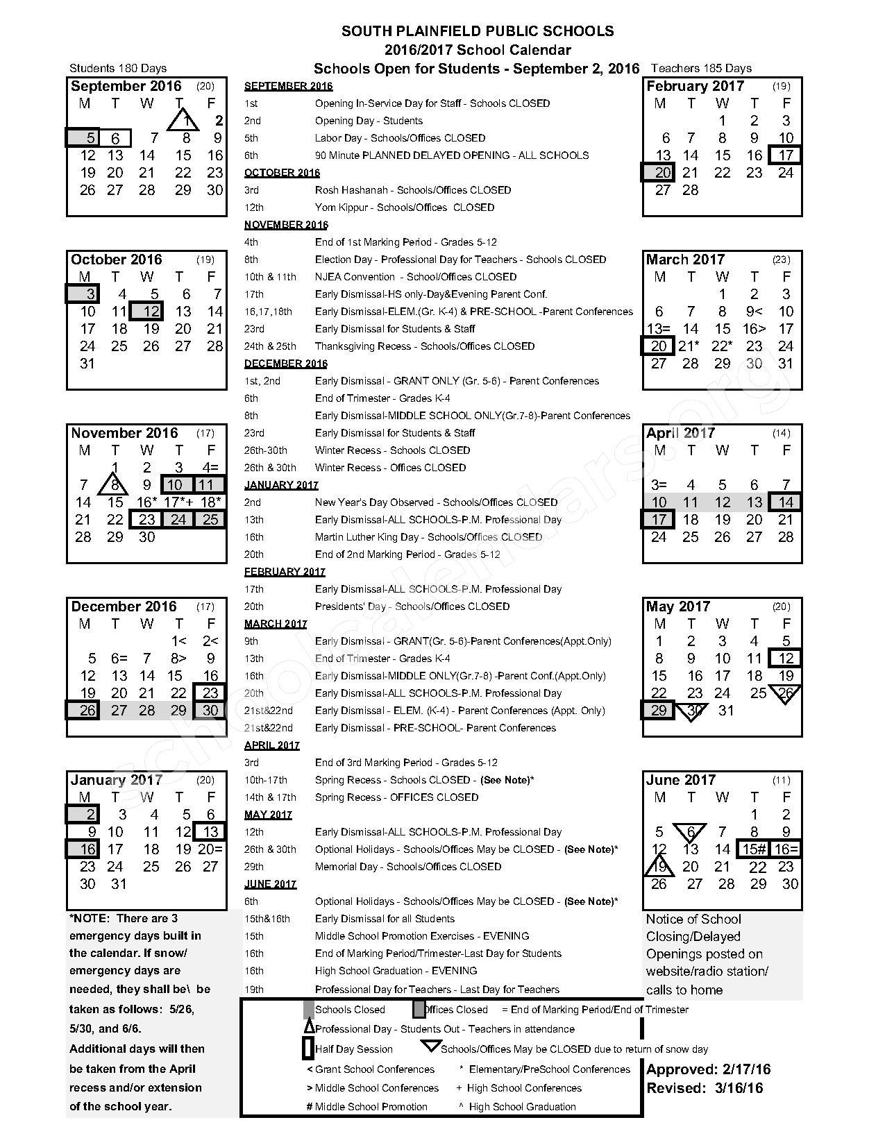 2016 - 2017 Academic Calendar – Grant Elementary School – page 1