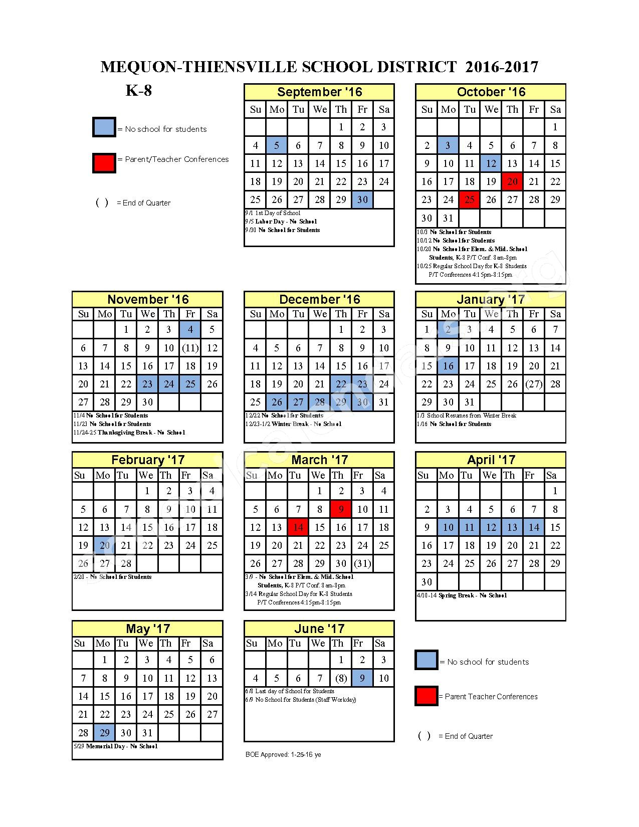 2016 - 2017 District Calendar – Mequon-Thiensville School District – page 1