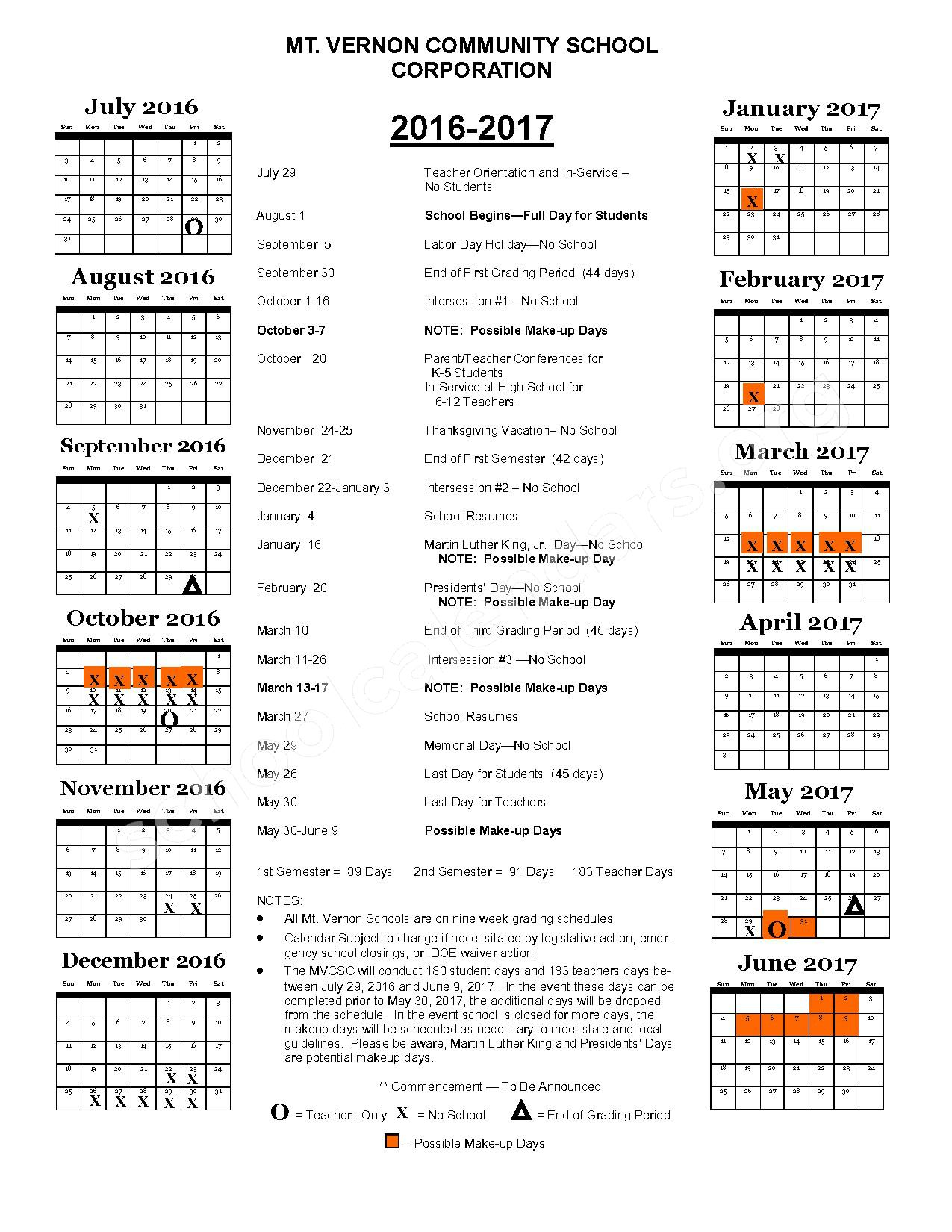 2016 - 2017 District Calendar – Mt Vernon Community School Corporation – page 1