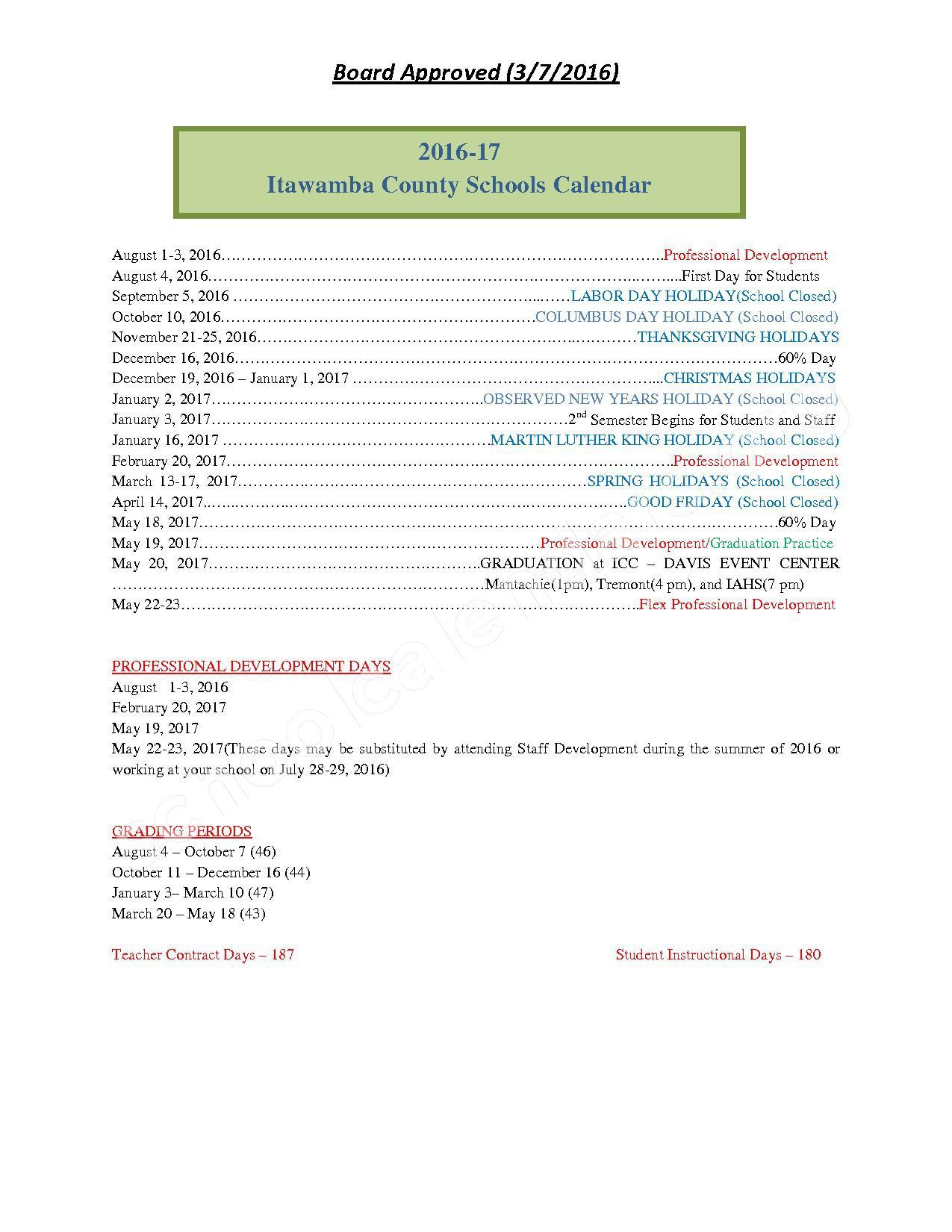 2016 - 2017 School Calendar – Itawamba County School District – page 1