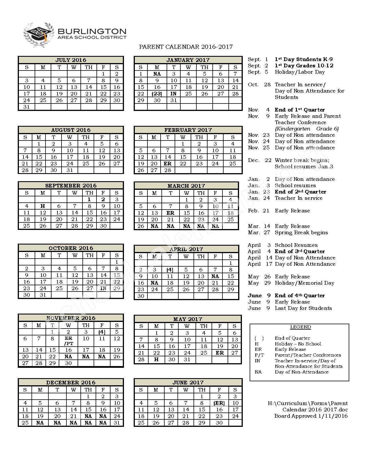 2016 - 2017 Parent Calendar – Burlington Area School District – page 1