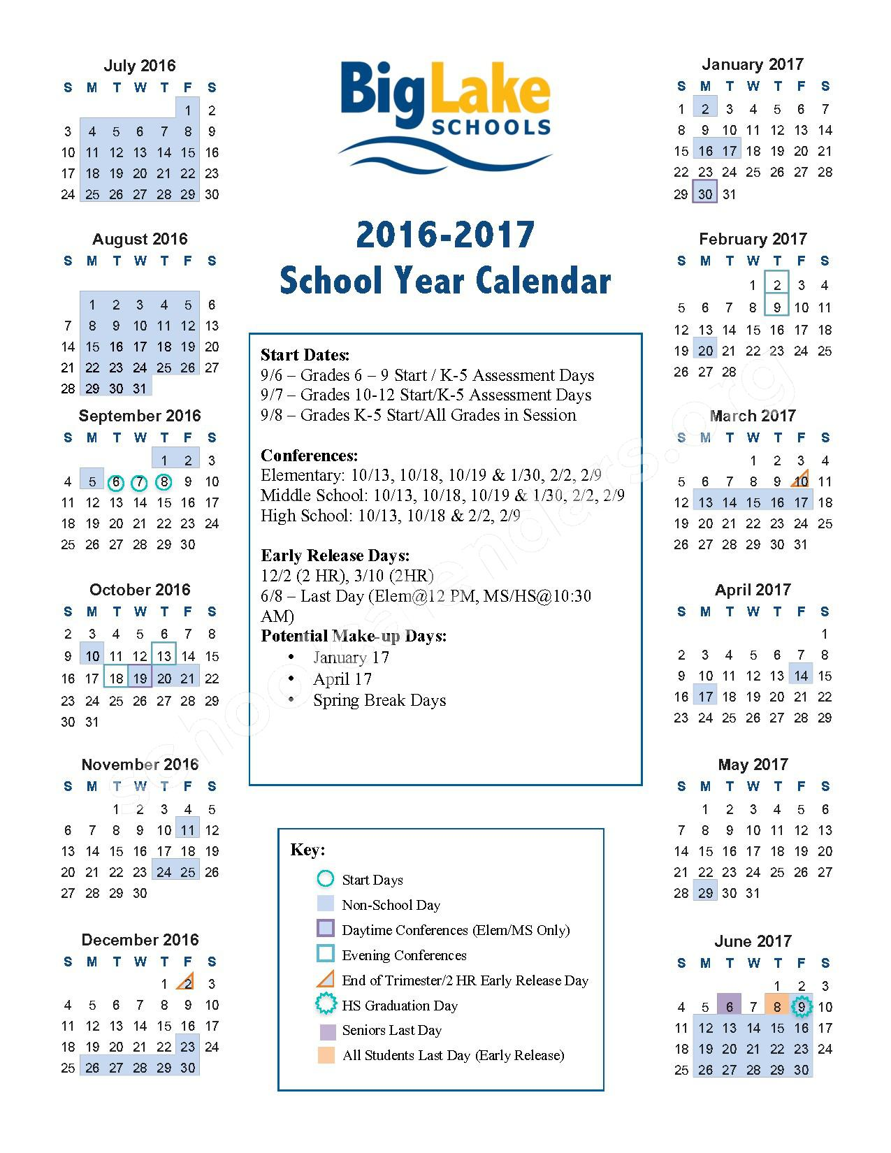 2016 - 2017 School Year Calendar – Big Lake Public School District – page 1