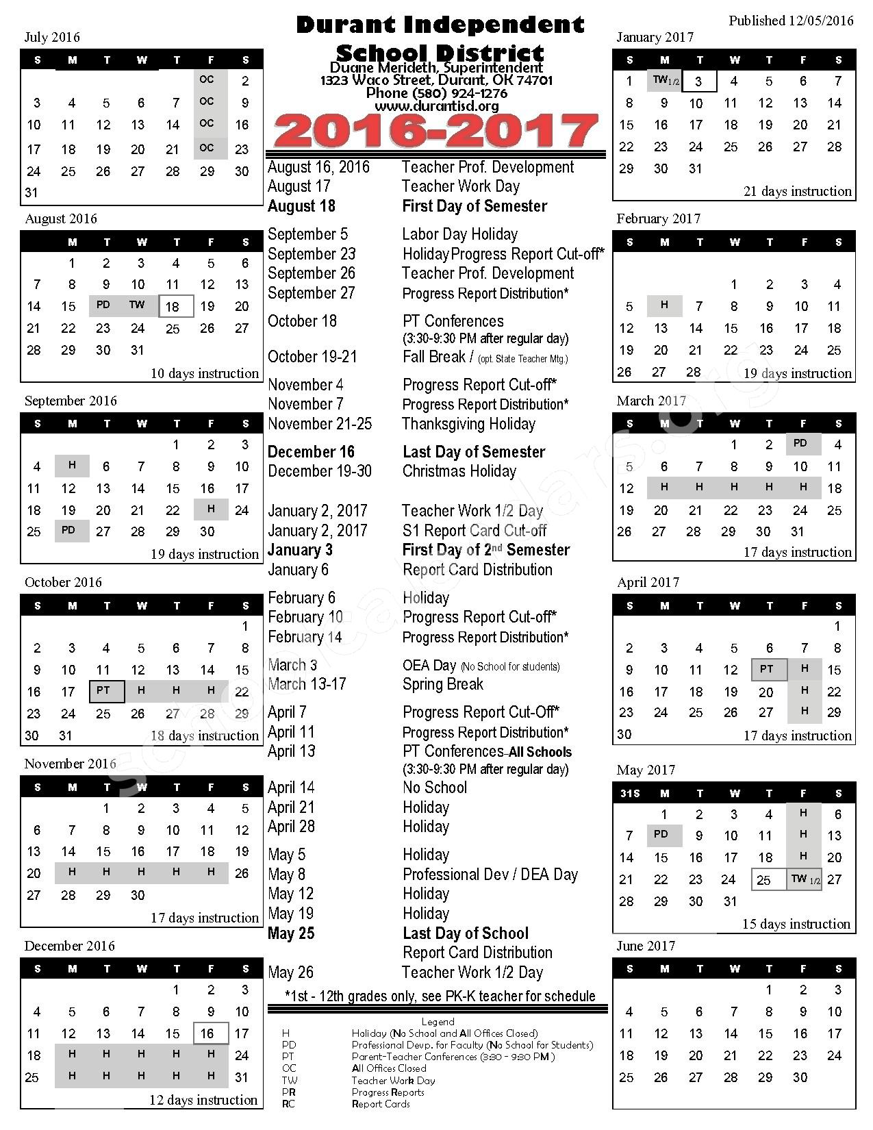 2016 - 2017 District Calendar – Durant Independent School District – page 1