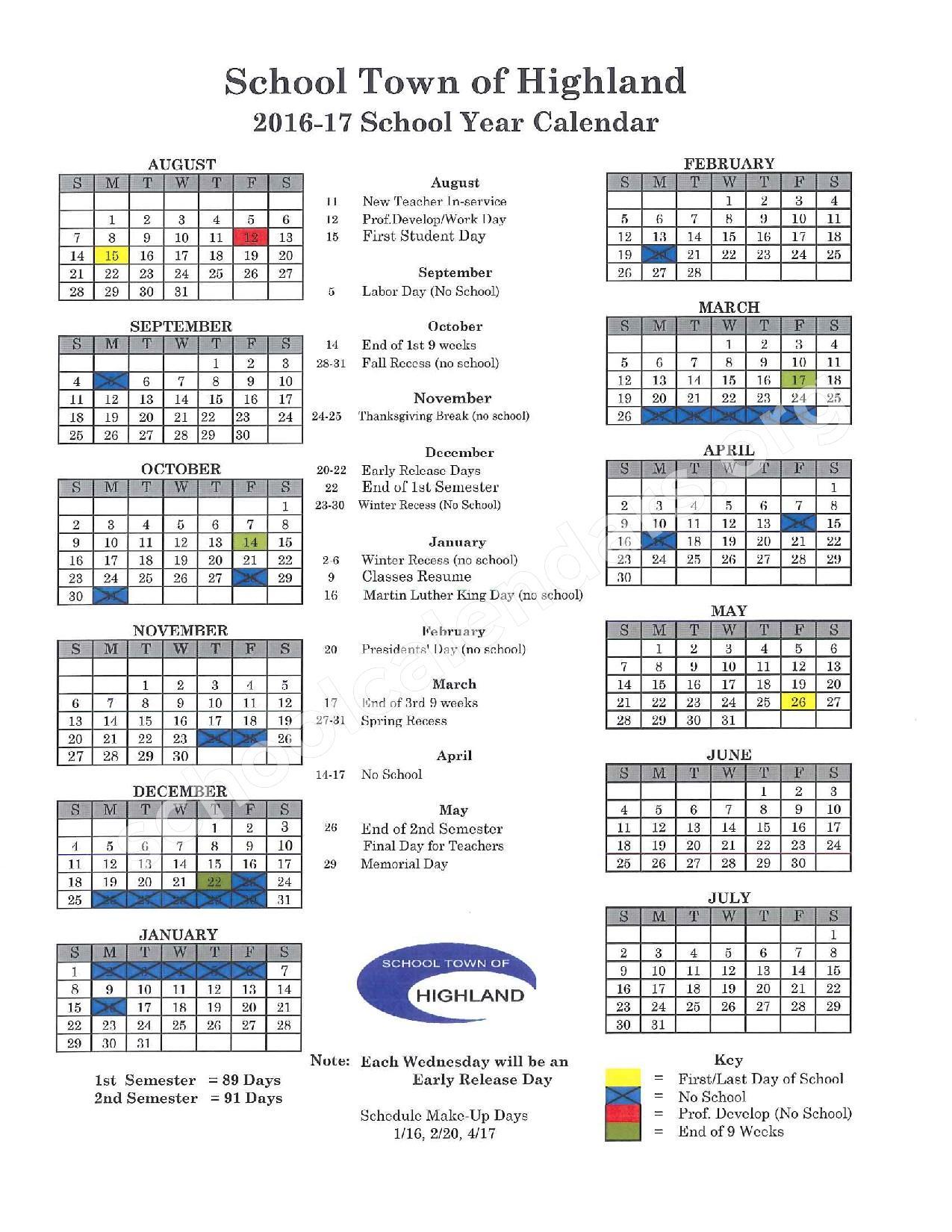 2016 - 2017 School Year Calendar – School Town of Highland – page 1