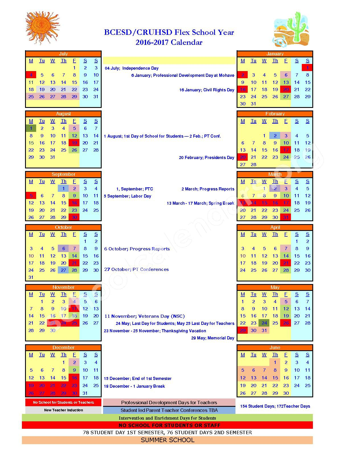 2016 - 2017 Flex School Year Calendar – Coyote Canyon School – page 1
