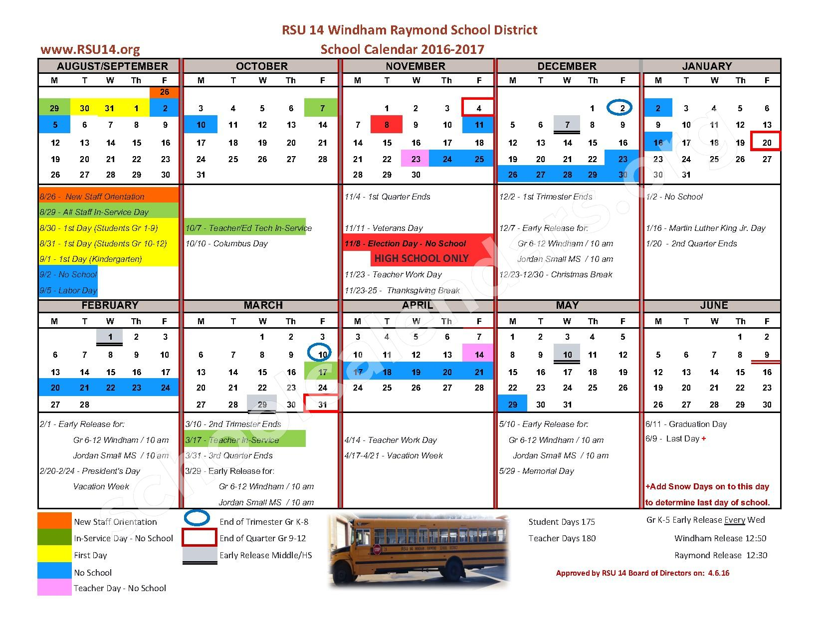 2016 - 2017 District Calendar – Windham High School – page 1