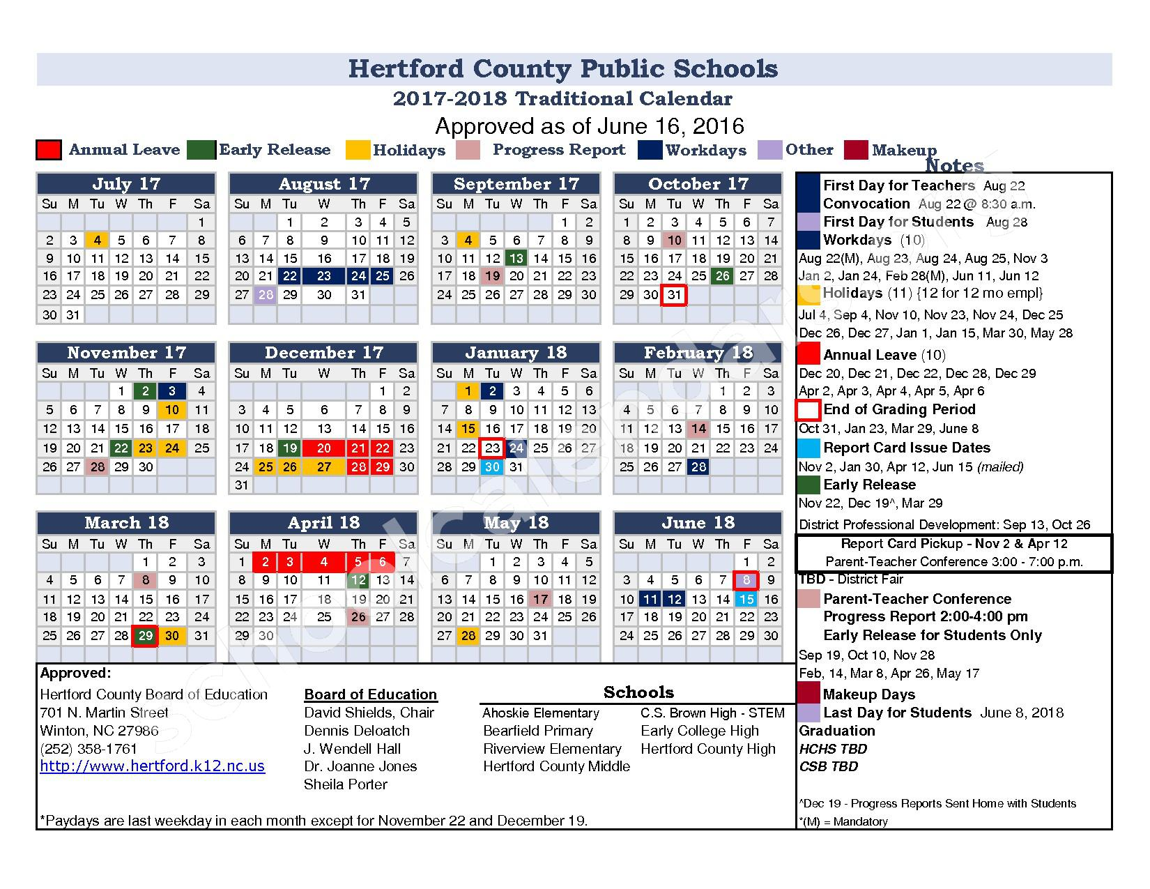 2017 - 2018 District Calendar – Hertford County Public Schools – page 1