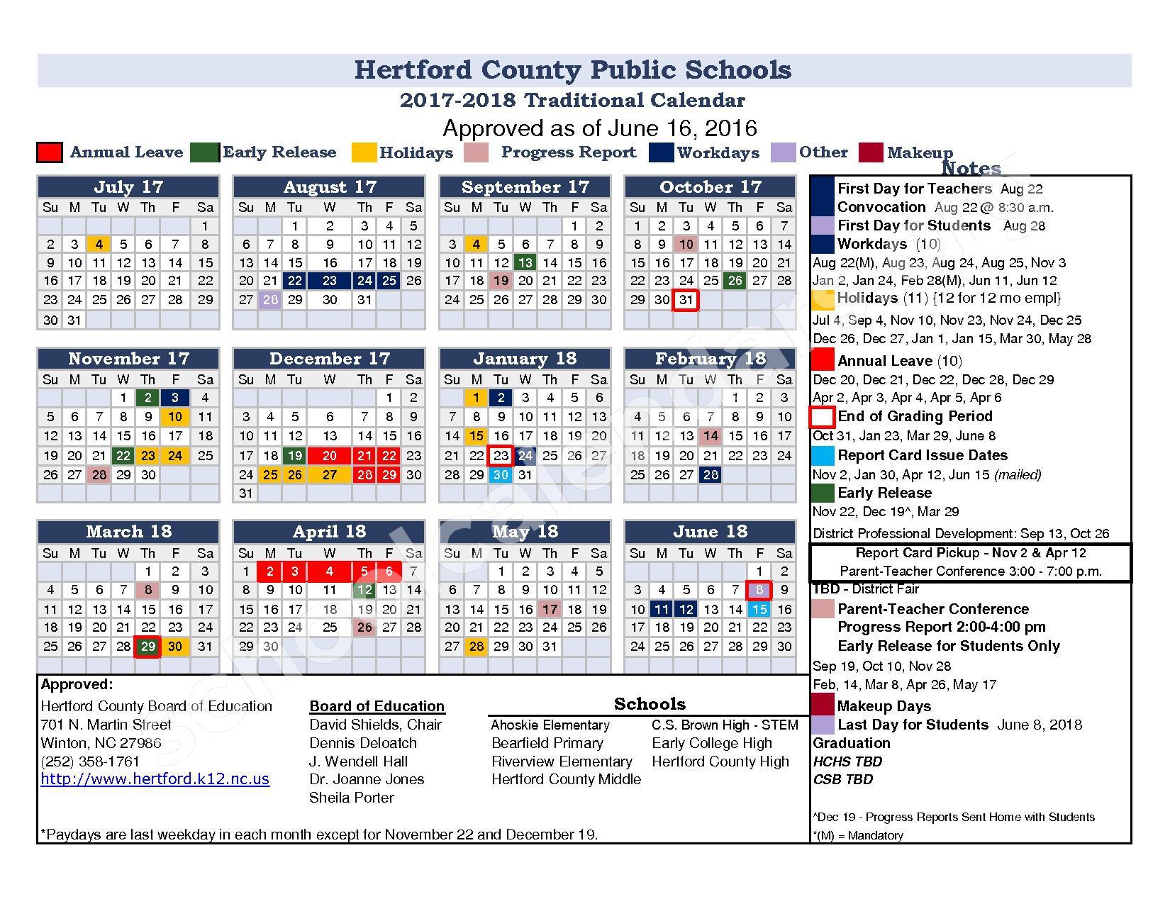 2017 - 2018 District Calendar – Student Development Center – page 1