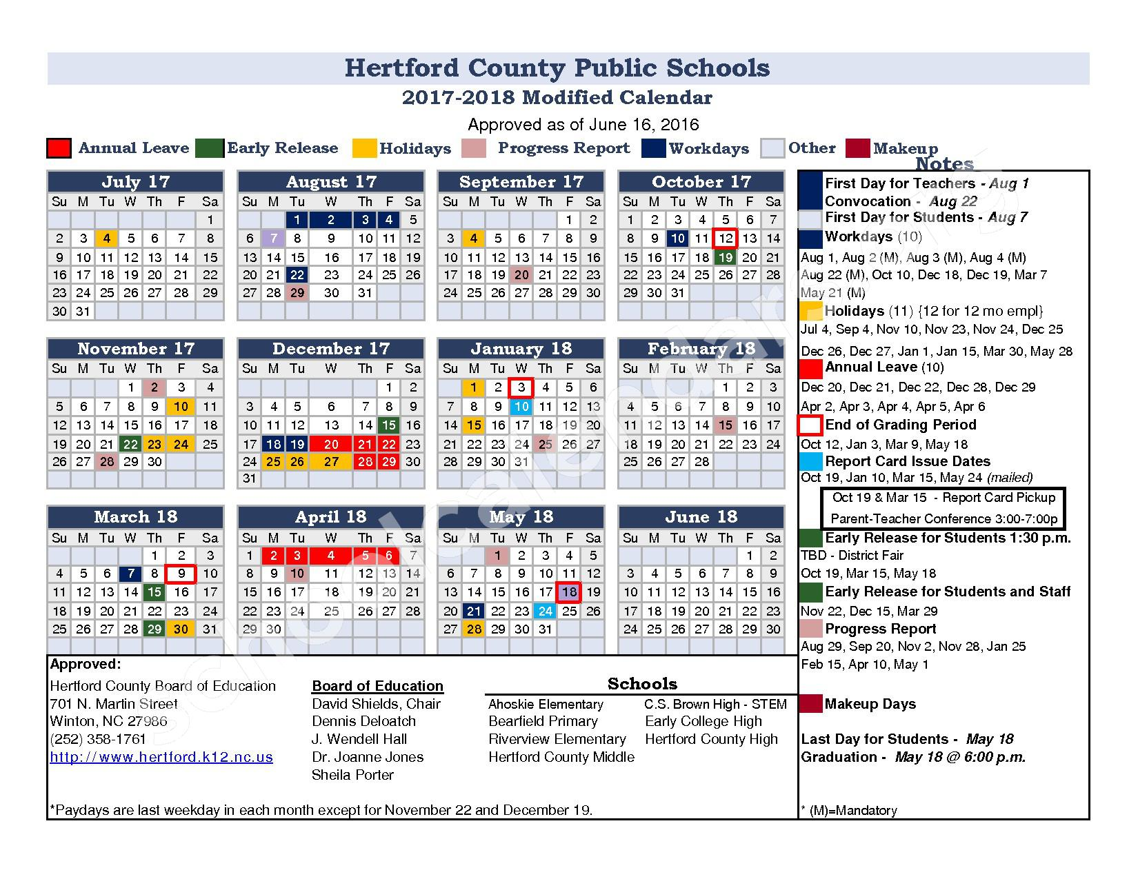 2017 - 2018 District Calendar – Hertford County Public Schools – page 1
