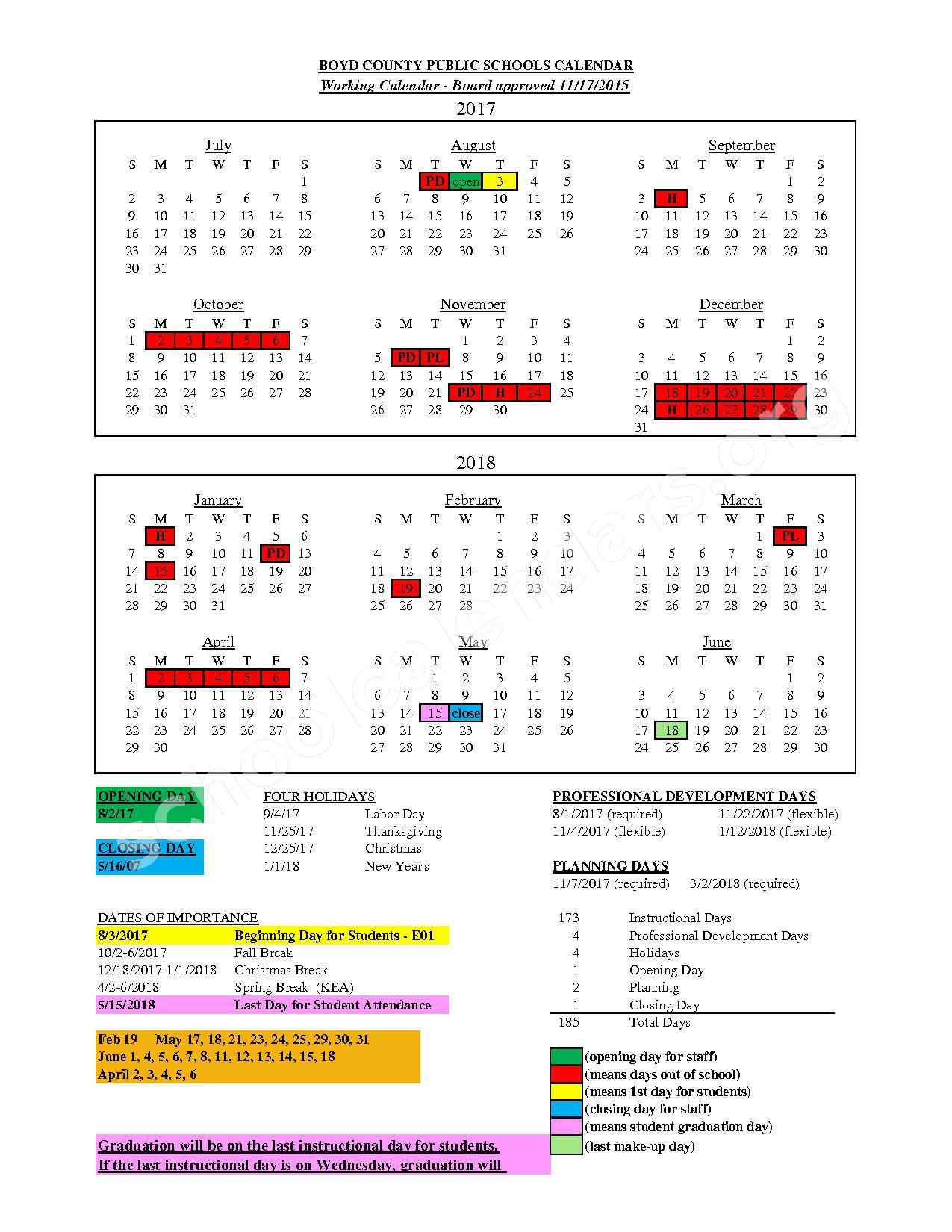 2017 - 2018 Employee Calendar – Boyd County School District – page 1