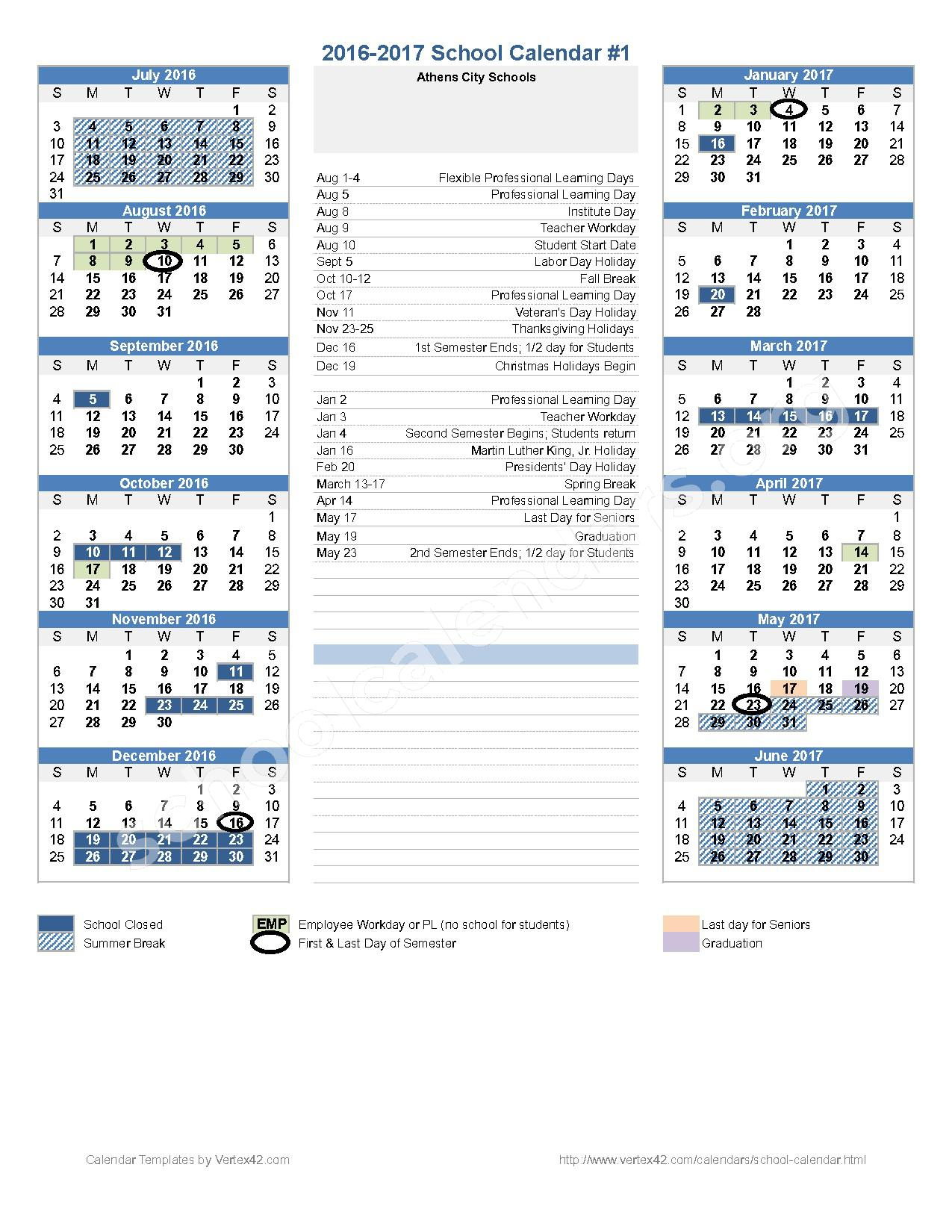 2016 - 2017 District Calendar – Athens City Schools – page 1