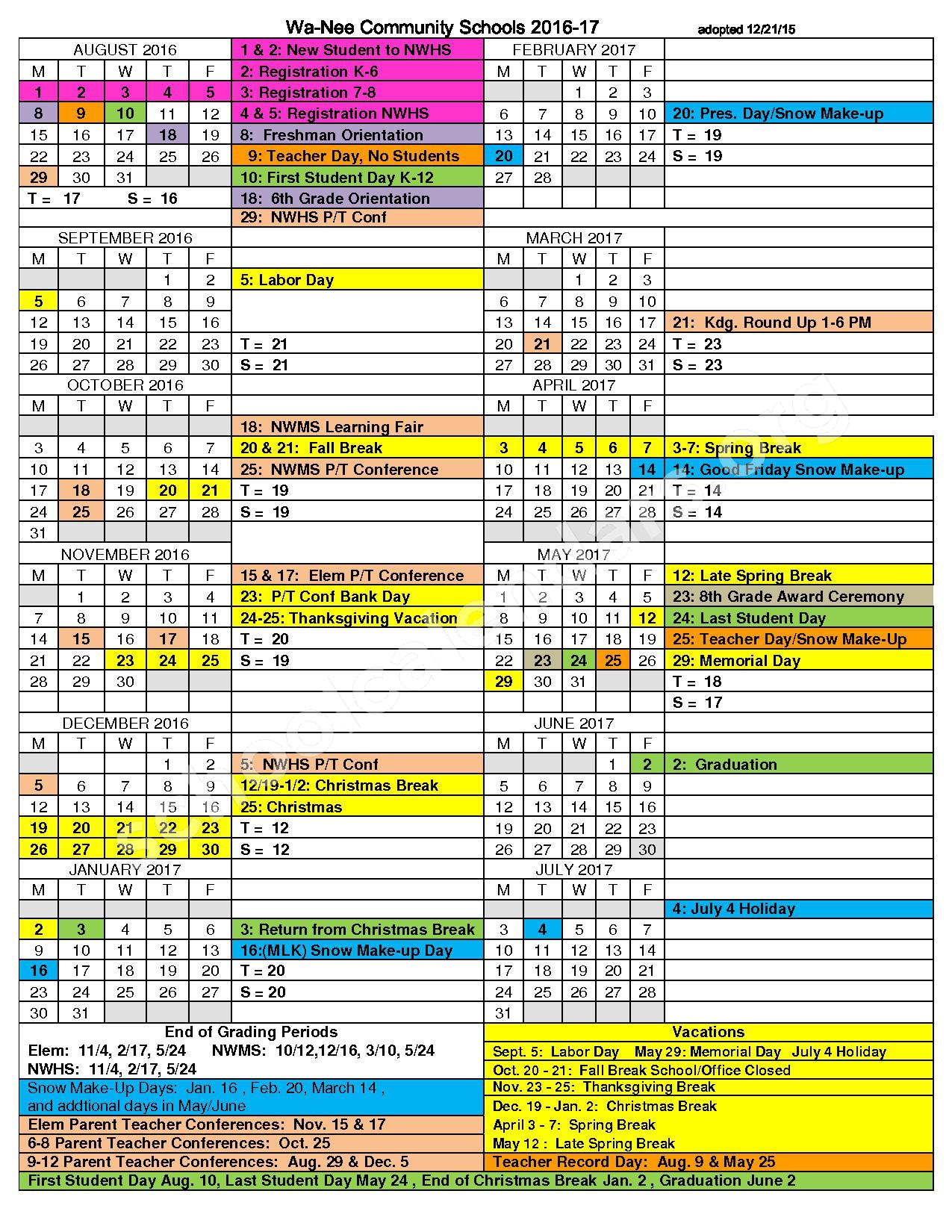 2016 - 2017District Calendar – North Wood High School – page 1