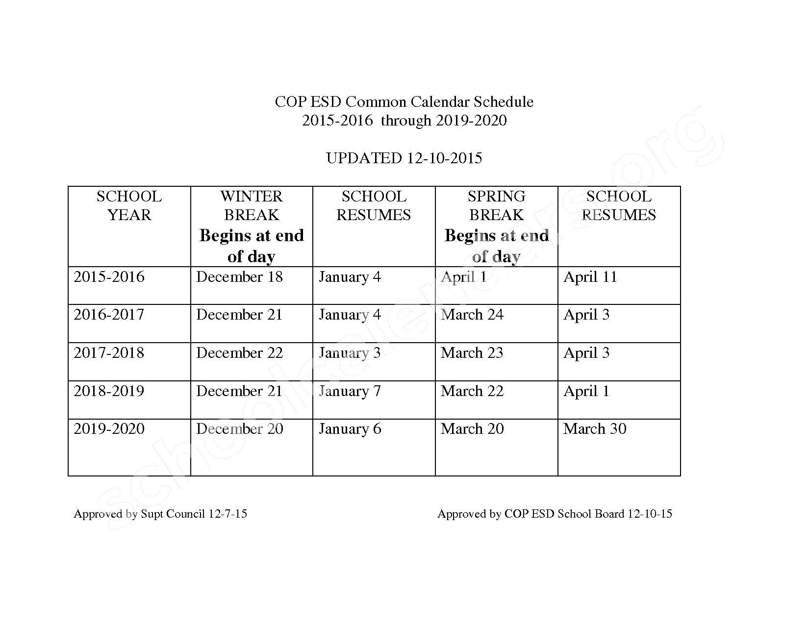 2017 - 2018 Spring Break Calendar – Gaylord Community Schools – page 1