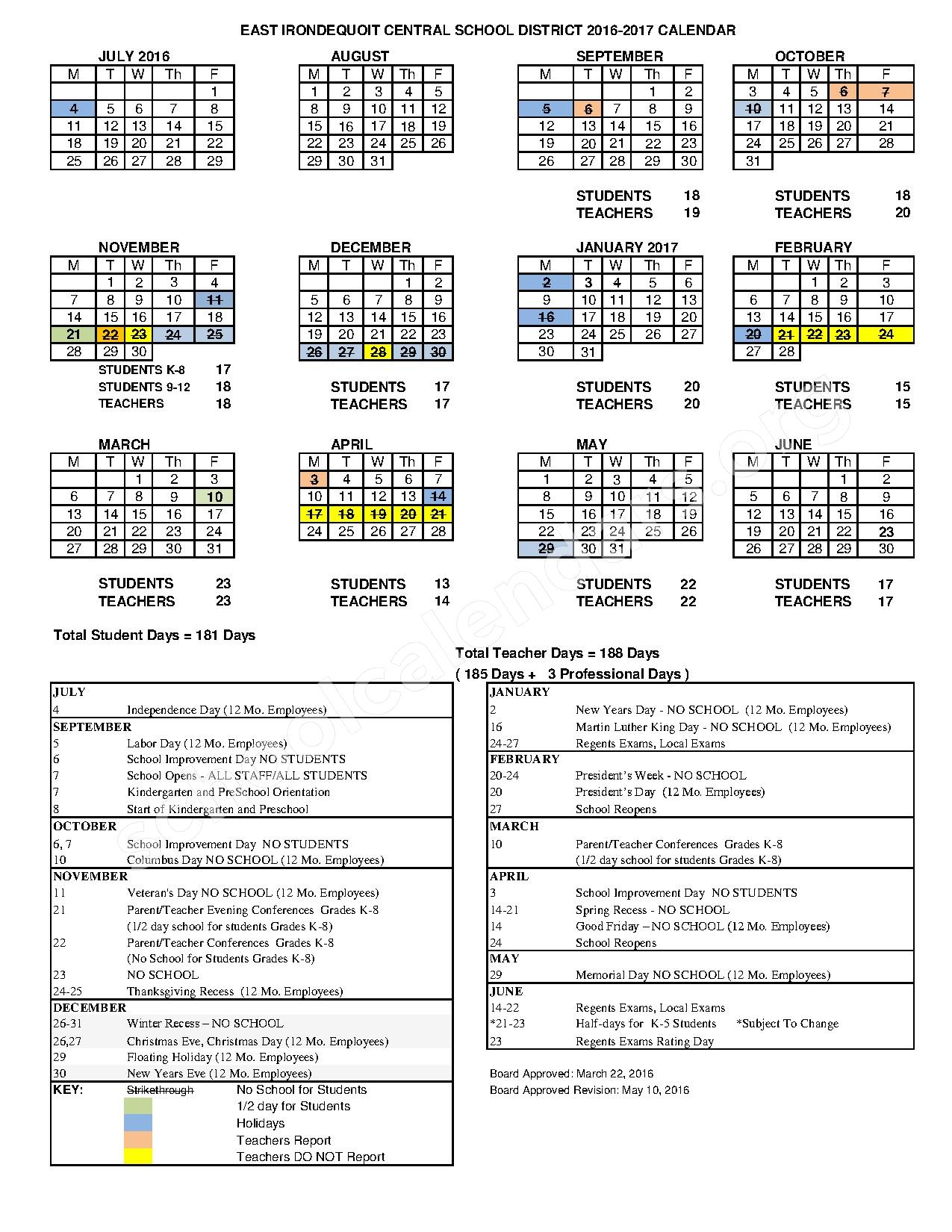 2016 - 2017 District Calendar – Helendale Road Primary School – page 1