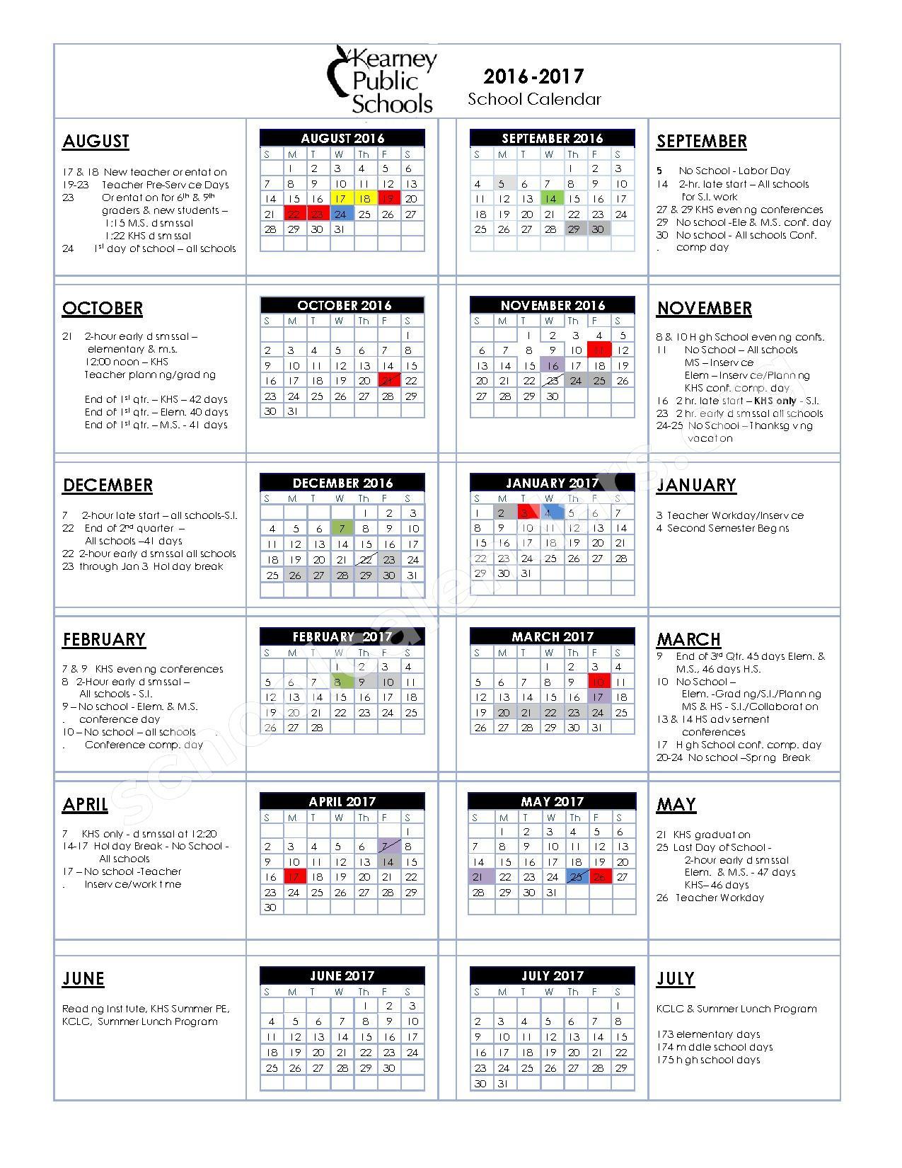 2016 - 2017 District Calendar – Kearney Public Schools – page 1