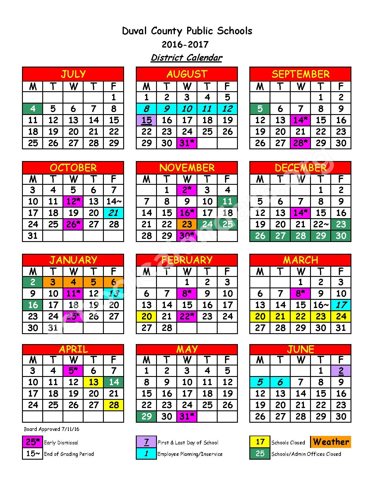 2016 - 2017 District Calendar – Hogan-Spring Glen Elementary School – page 1