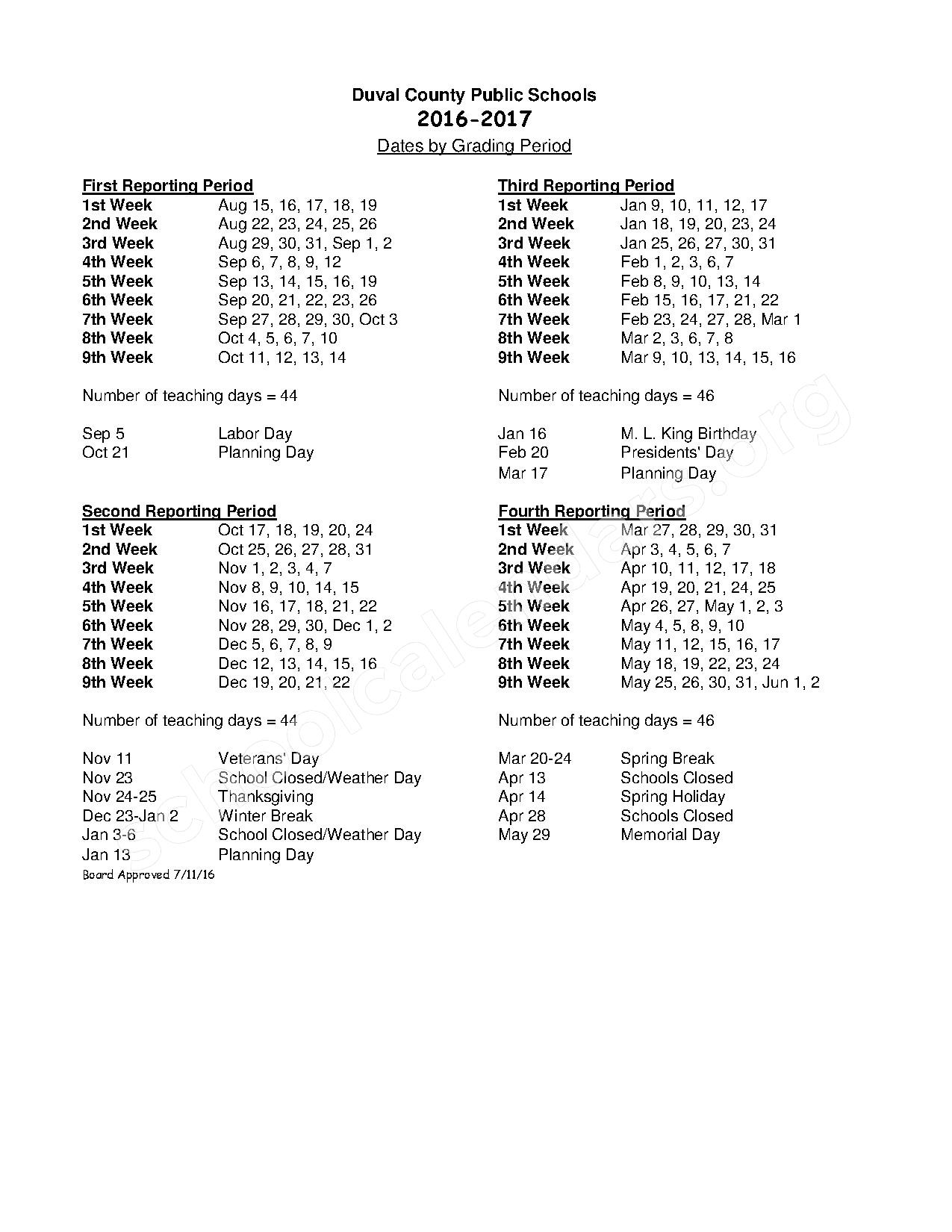 2016 - 2017 District Calendar – Hogan-Spring Glen Elementary School – page 2