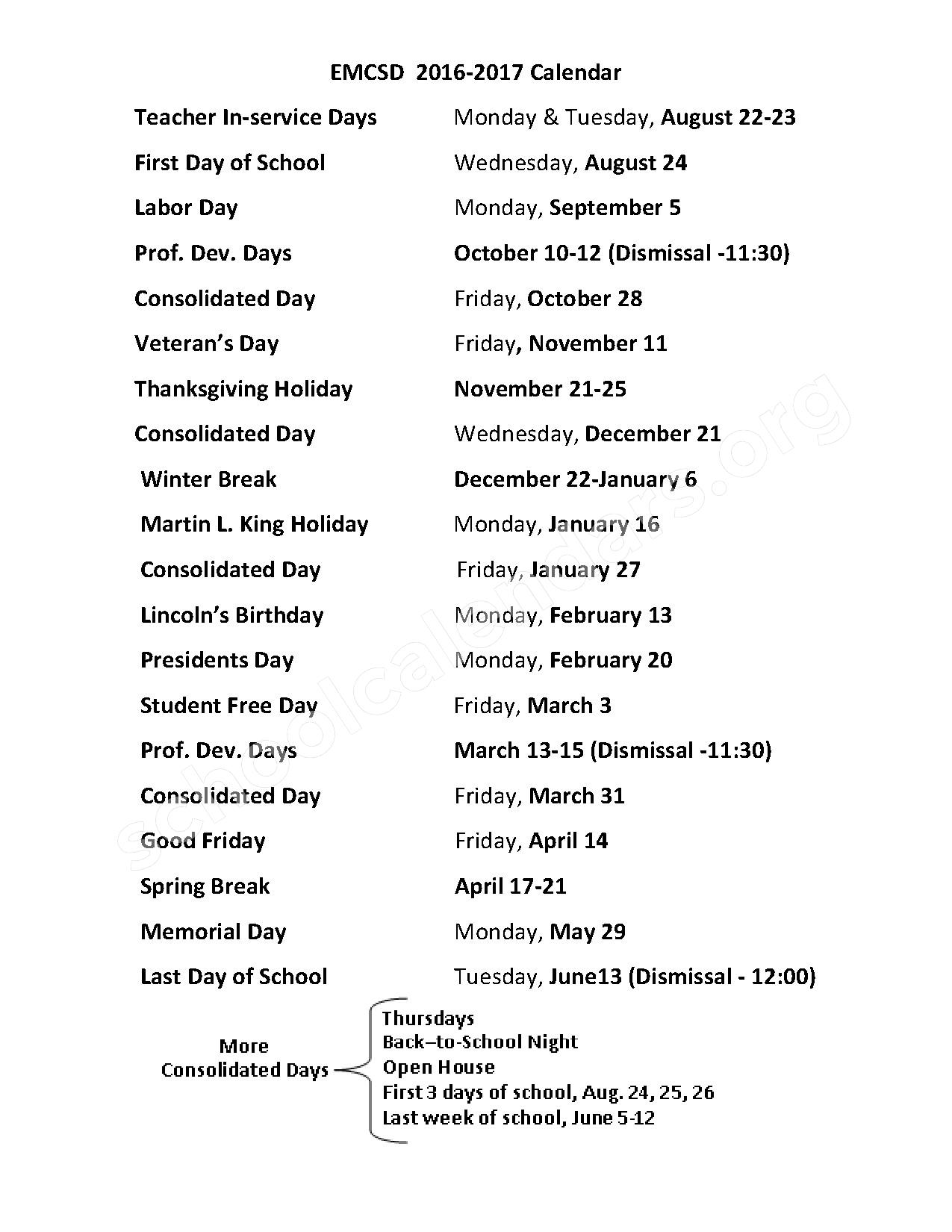 2016 - 2017 District Calendar – El Monte City Elementary School District – page 1