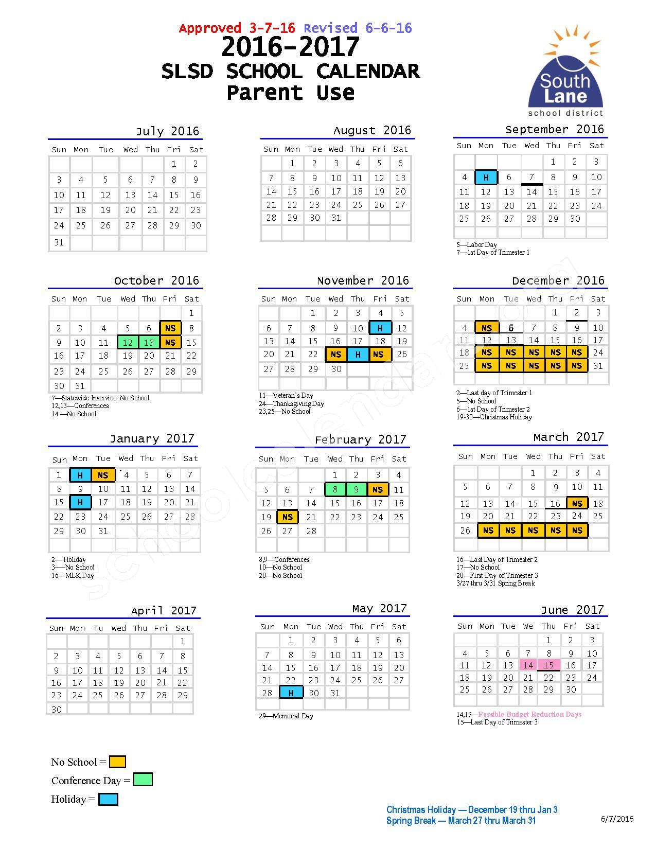 2016 - 2017 School Calendar – South Lane School District – page 1
