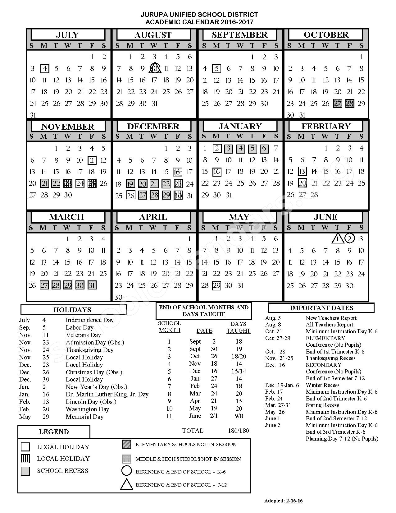 2016 - 2017 District Calendar – Jurupa Unified School District – page 1