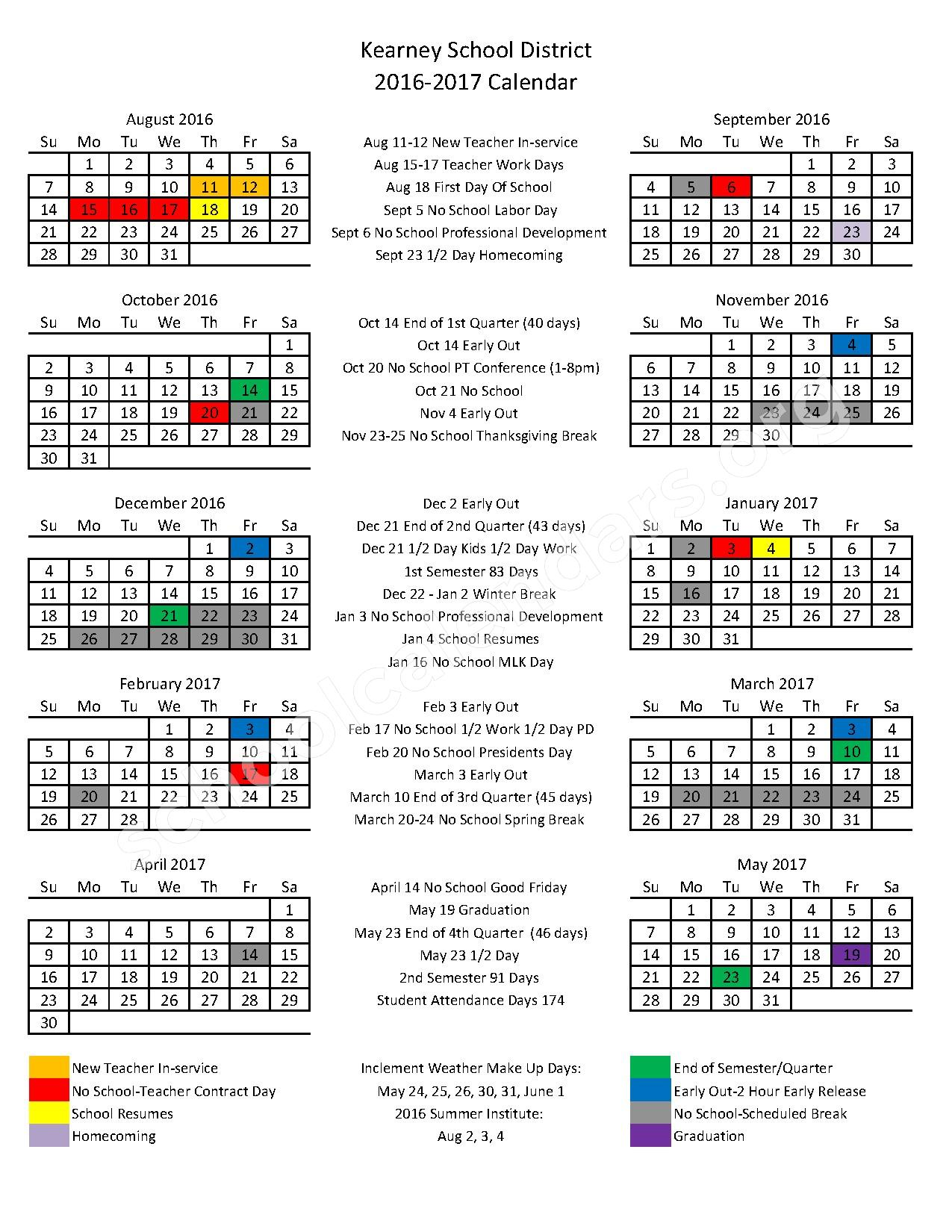 2016 - 2017 District Calendar – Kearney School District – page 1
