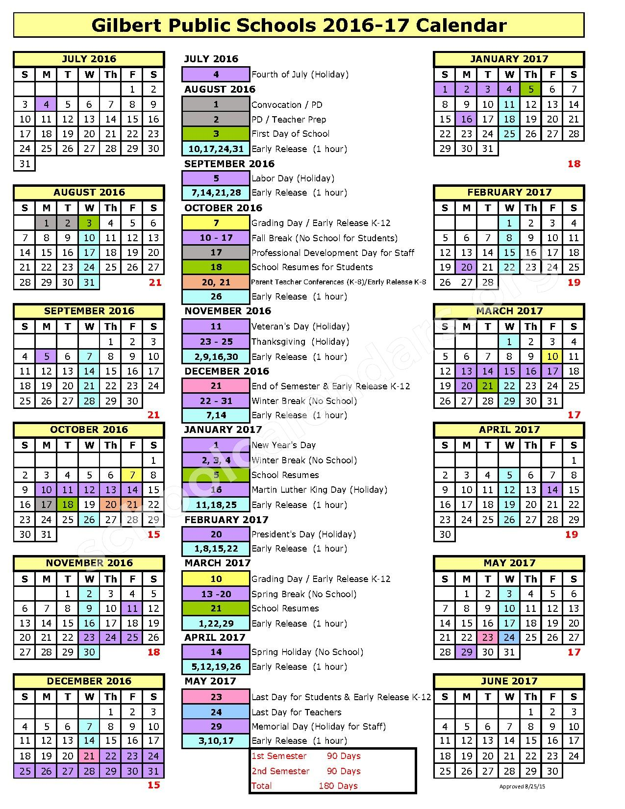 2016 - 2017 District Calendar – Gilbert Public Schools – page 1