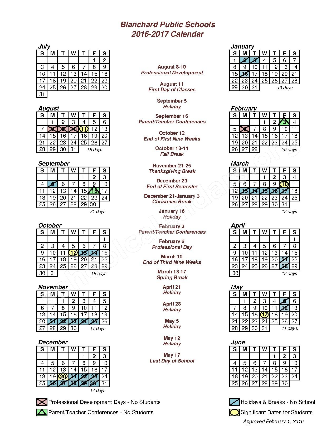 2016 - 2017 District Calendar – Blanchard Public Schools – page 1