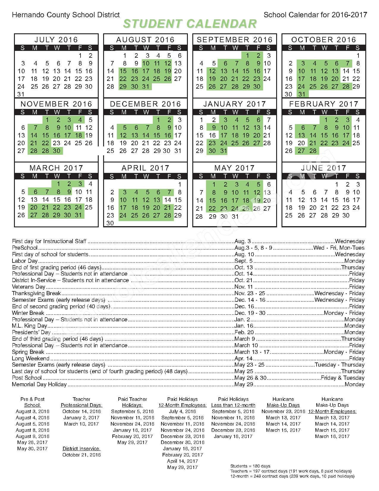 2016 - 2017 Student Calendar – Central High School-Adult Education – page 1