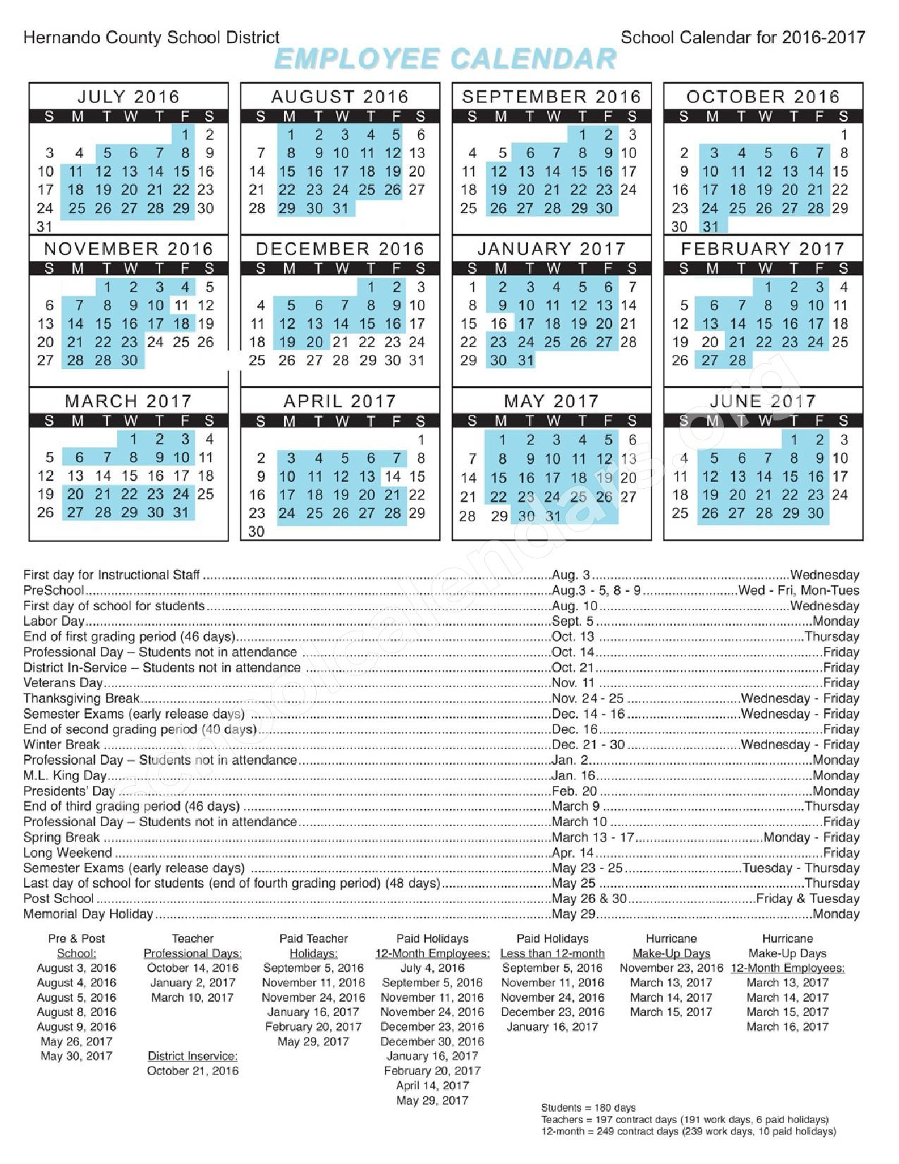 2016- 2017 Employee Calendar – Frank W. Springstead High School / Adult Education – page 1