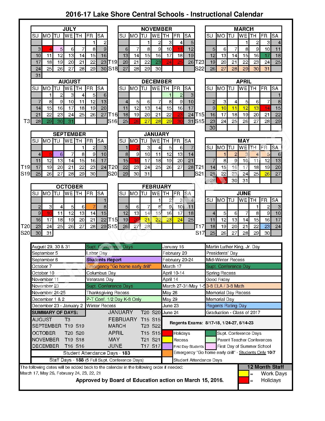 2016 - 2017 Instructional Calendar – Evans-Brant Central School District (Lake Shore) – page 1