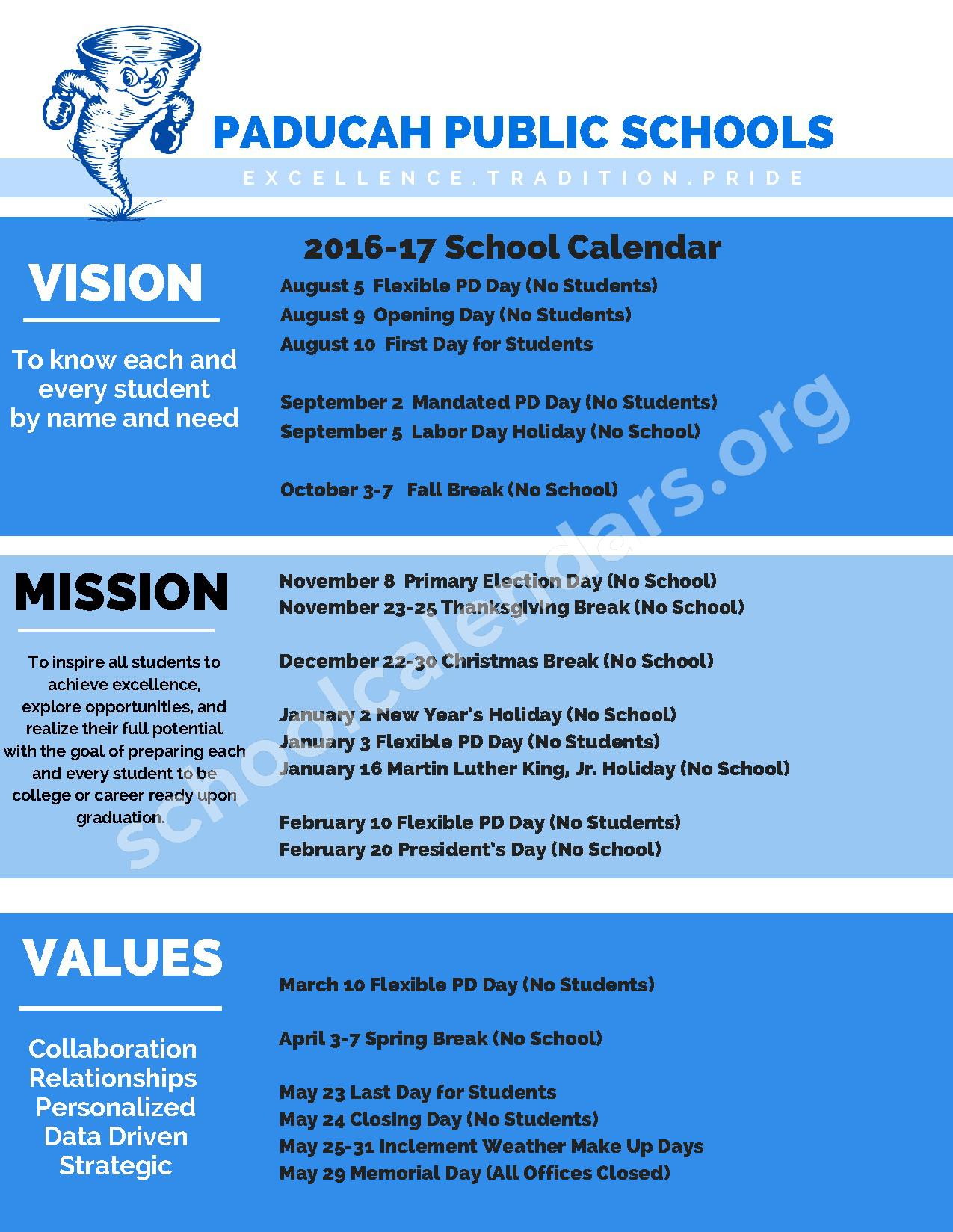 2016 - 2017 School Calendar – Paducah Tilghman High School – page 1