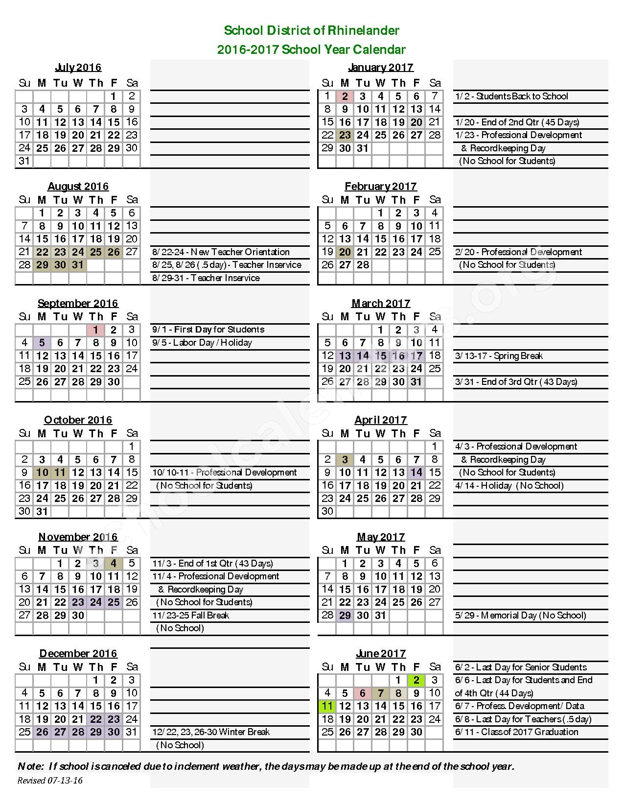 2016 - 2017 School Calendar – Crescent Elementary School – page 1