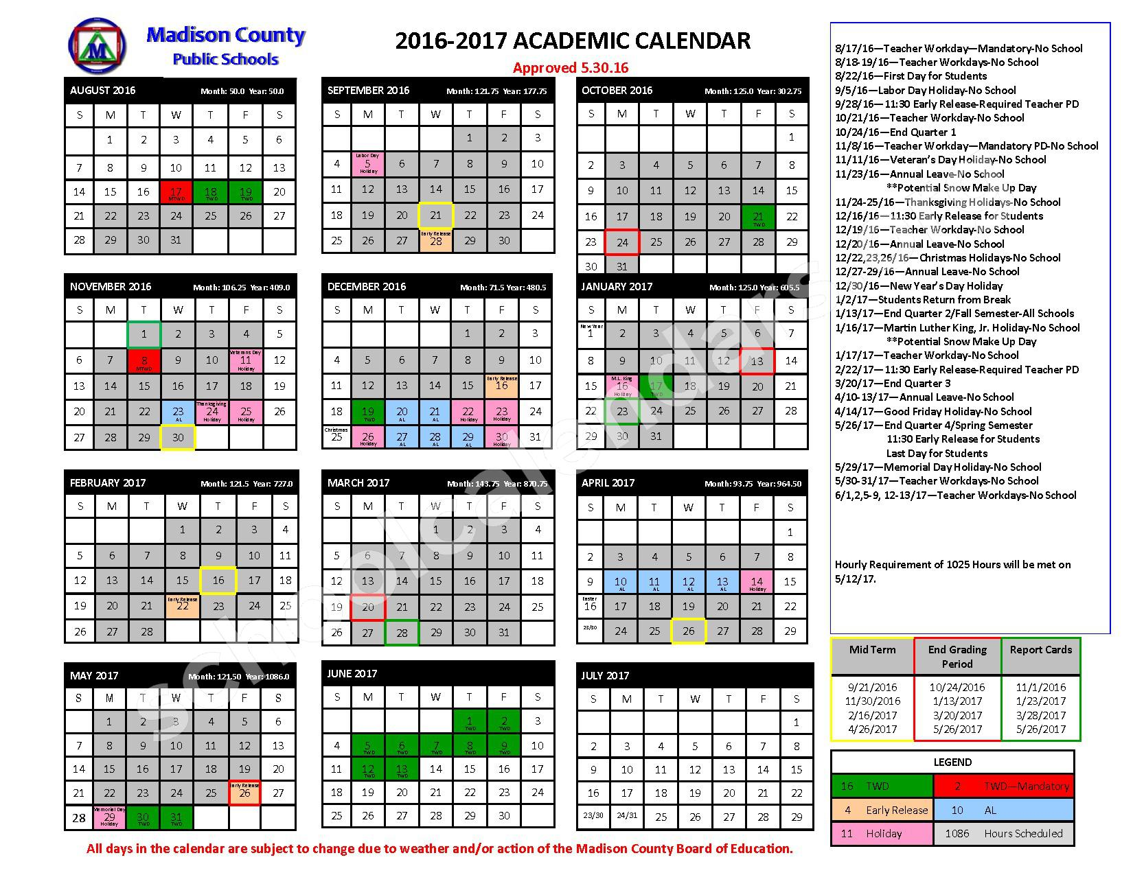 2016 - 2017 School Calendar – Mars Hill Elementary School – page 1