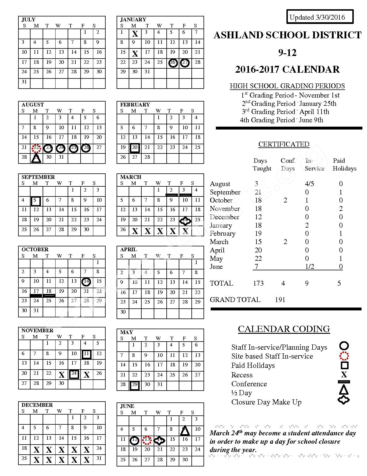 2016 - 2017 District Calendar – Ashland School District – page 1