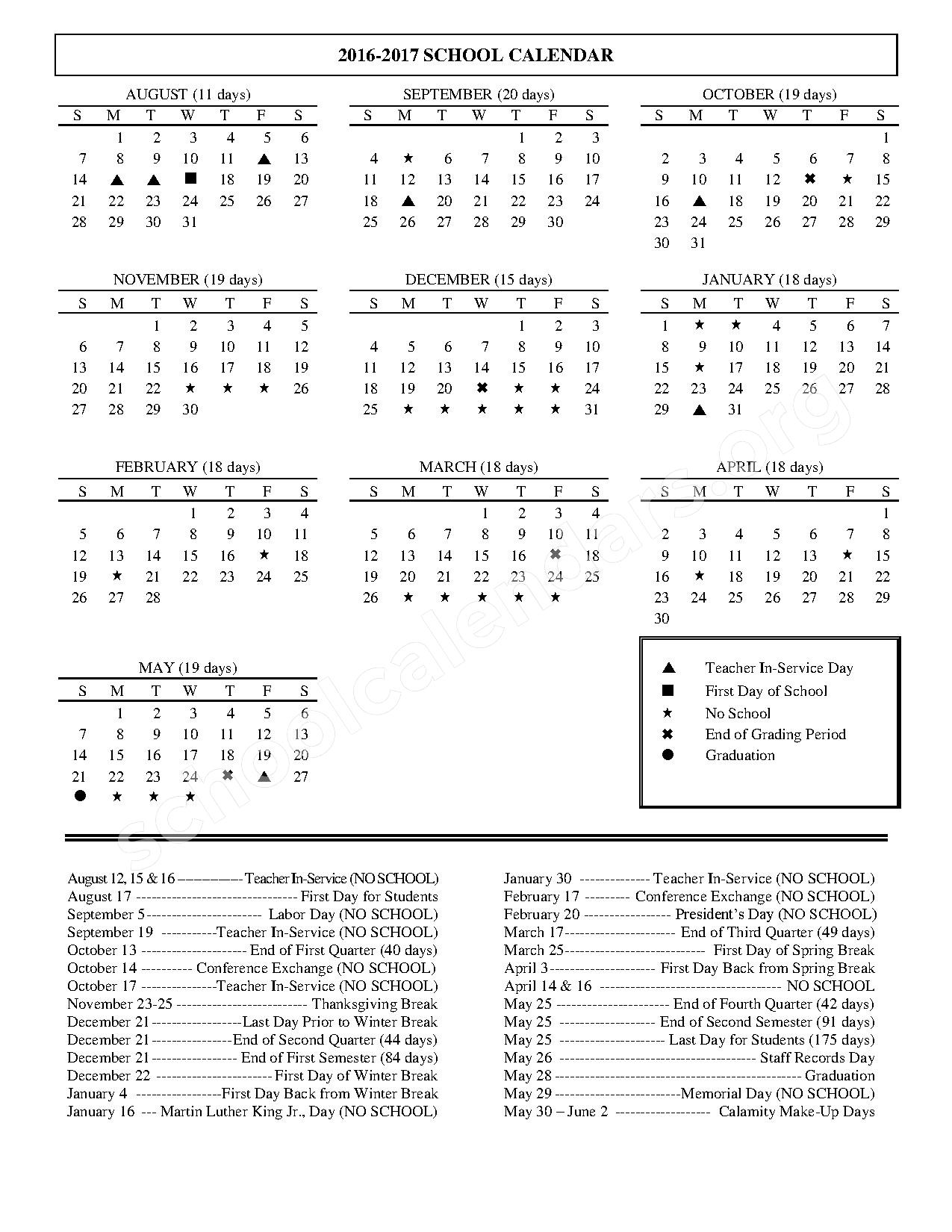 2016 - 2017 School Calendar – Granville Intermediate School – page 1