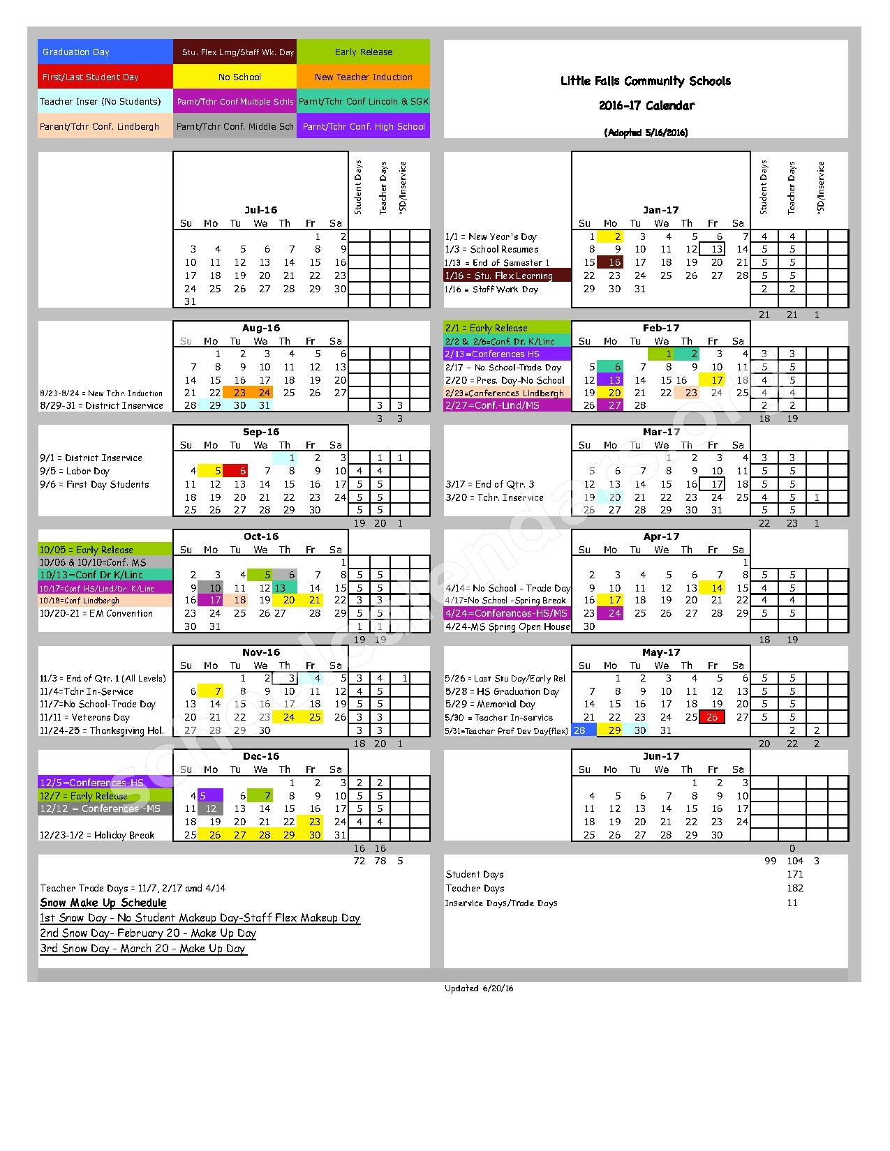 2016 - 2017 District Calendar – Little Falls Continuing Education – page 1