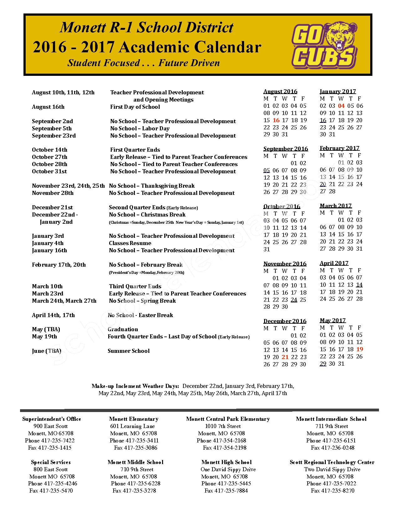 2016 - 2017 Academic Calendar – Monett R-I School District – page 1