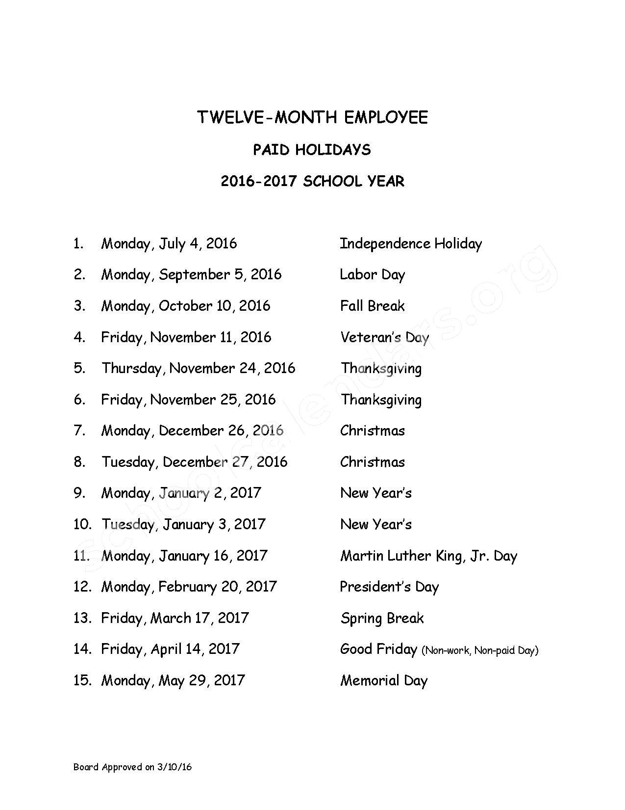 2016 - 2017 District Calendar – Elsa Meyer Elementary School – page 3