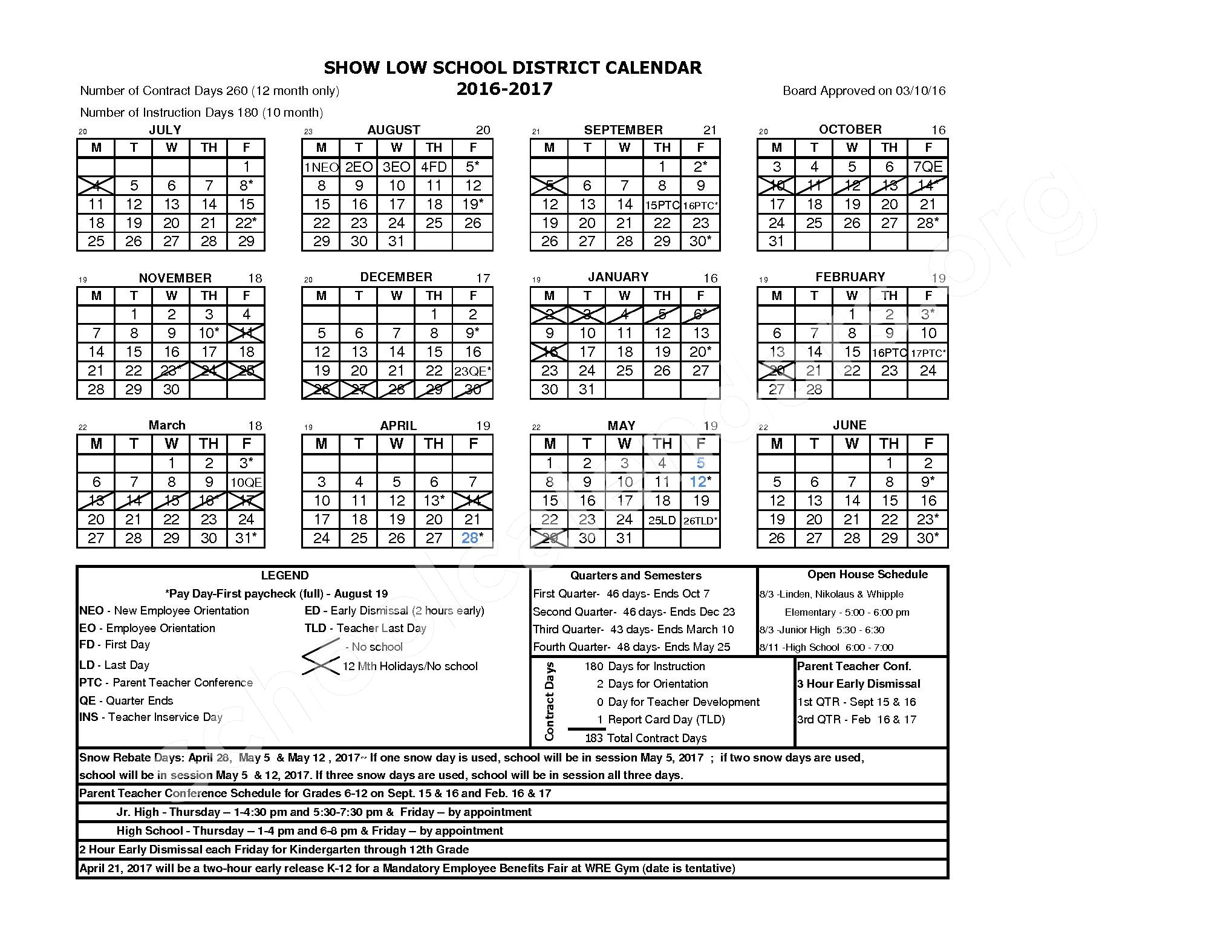 2016 - 2017 District Calendar – Elsa Meyer Elementary School – page 1