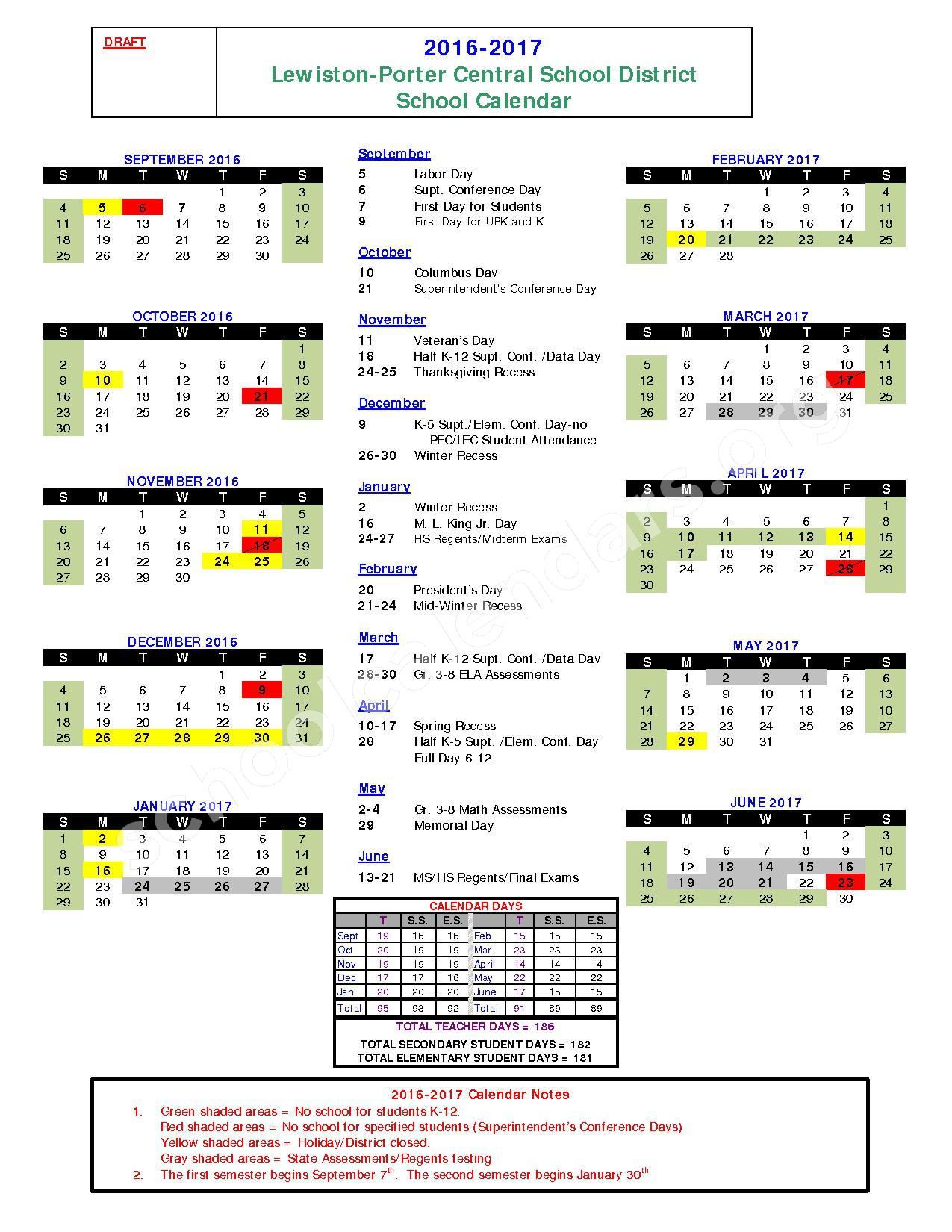 2016 - 2017 District Calendar – Lewiston Porter Senior High School – page 1