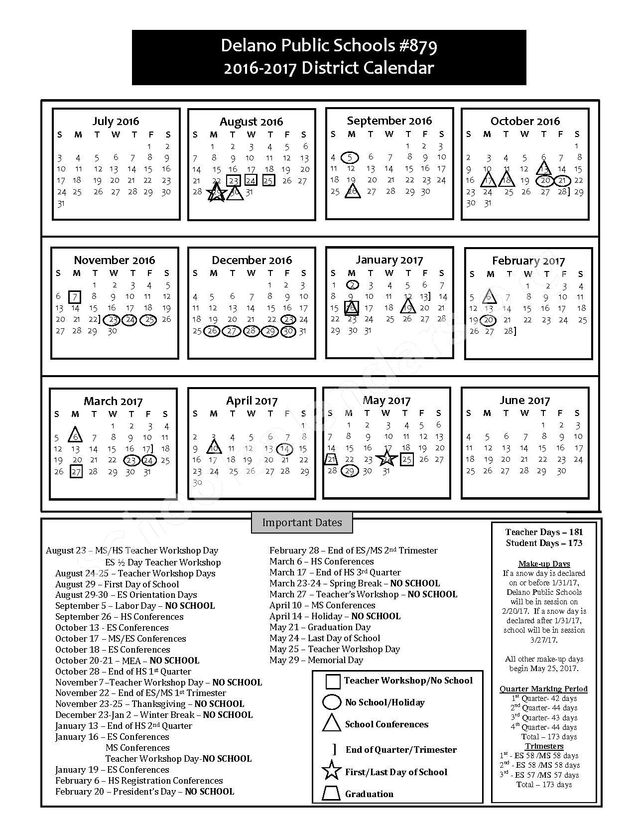 2016 - 2018 District Calendar – Delano Public School District – page 1