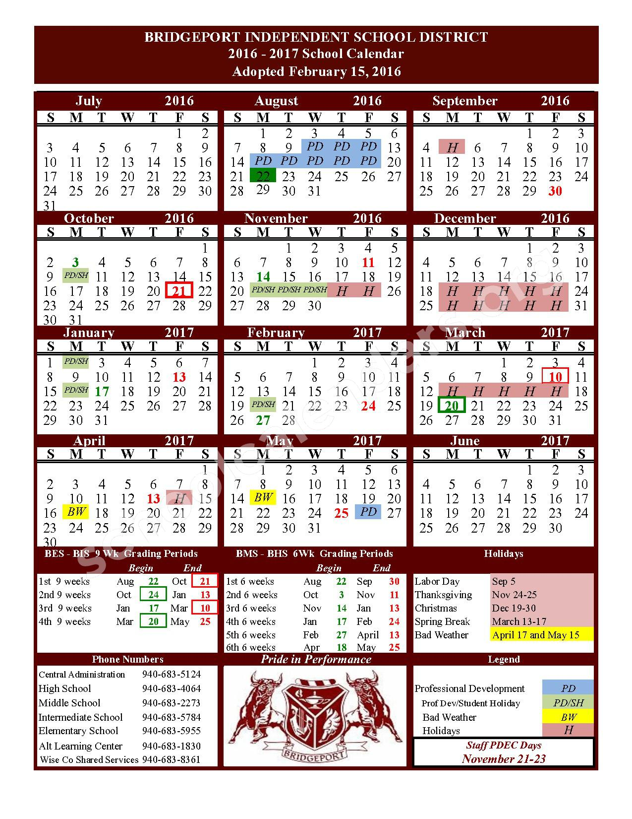 2016 - 2017 School Calendar – Bridgeport Independent School District – page 1