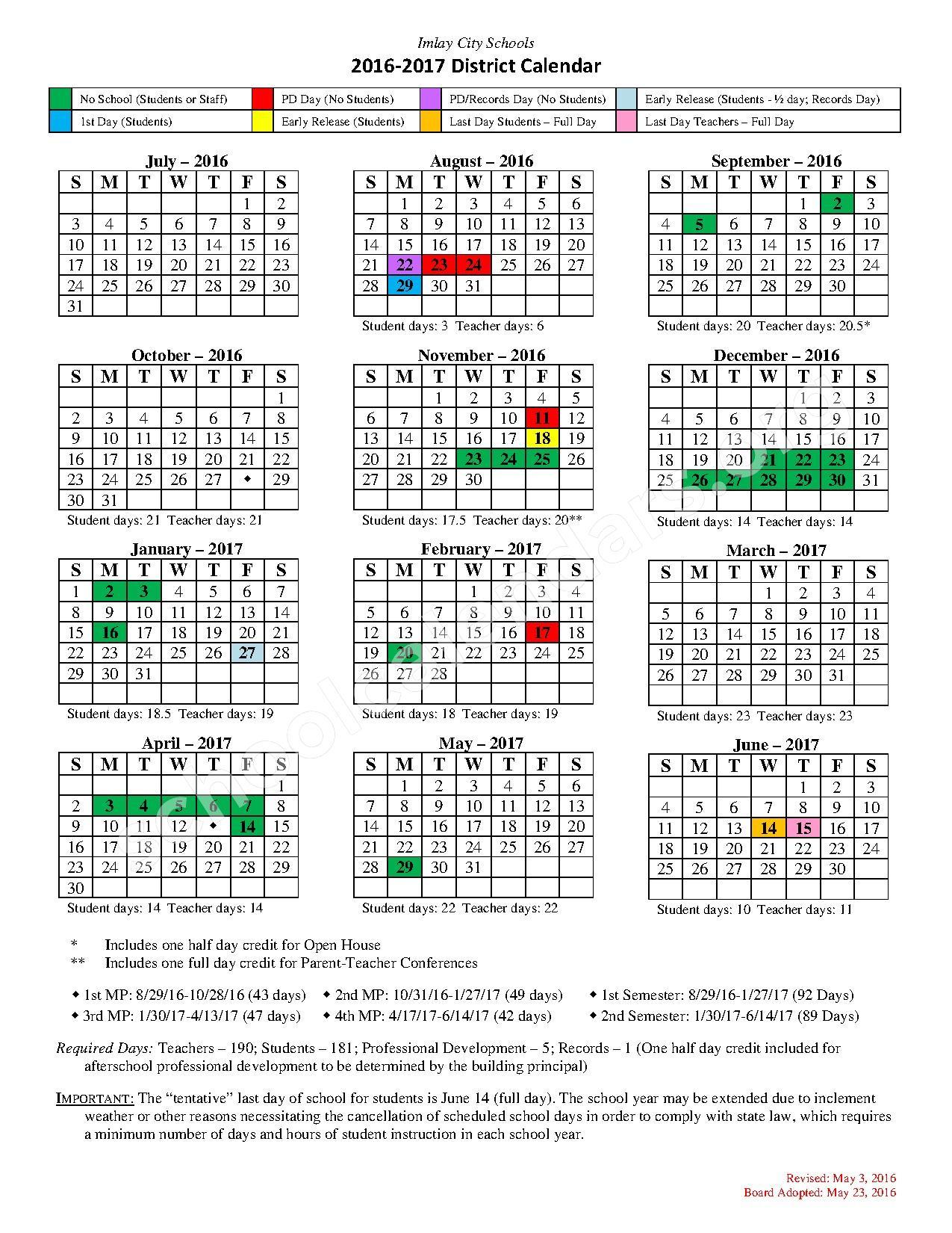 2016 - 2017 School Calendar – Imlay City Community Schools – page 1