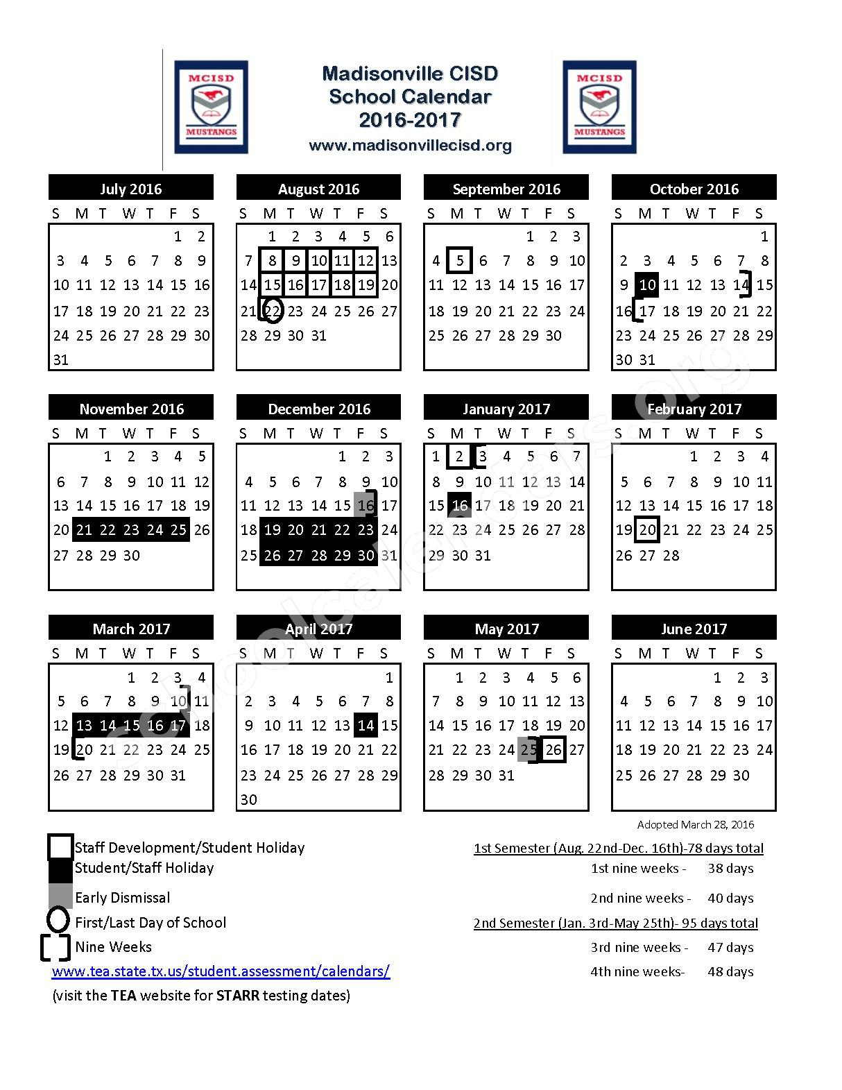 2016 - 2017 School Calendar – Madisonville Consolidated Independent School District – page 1