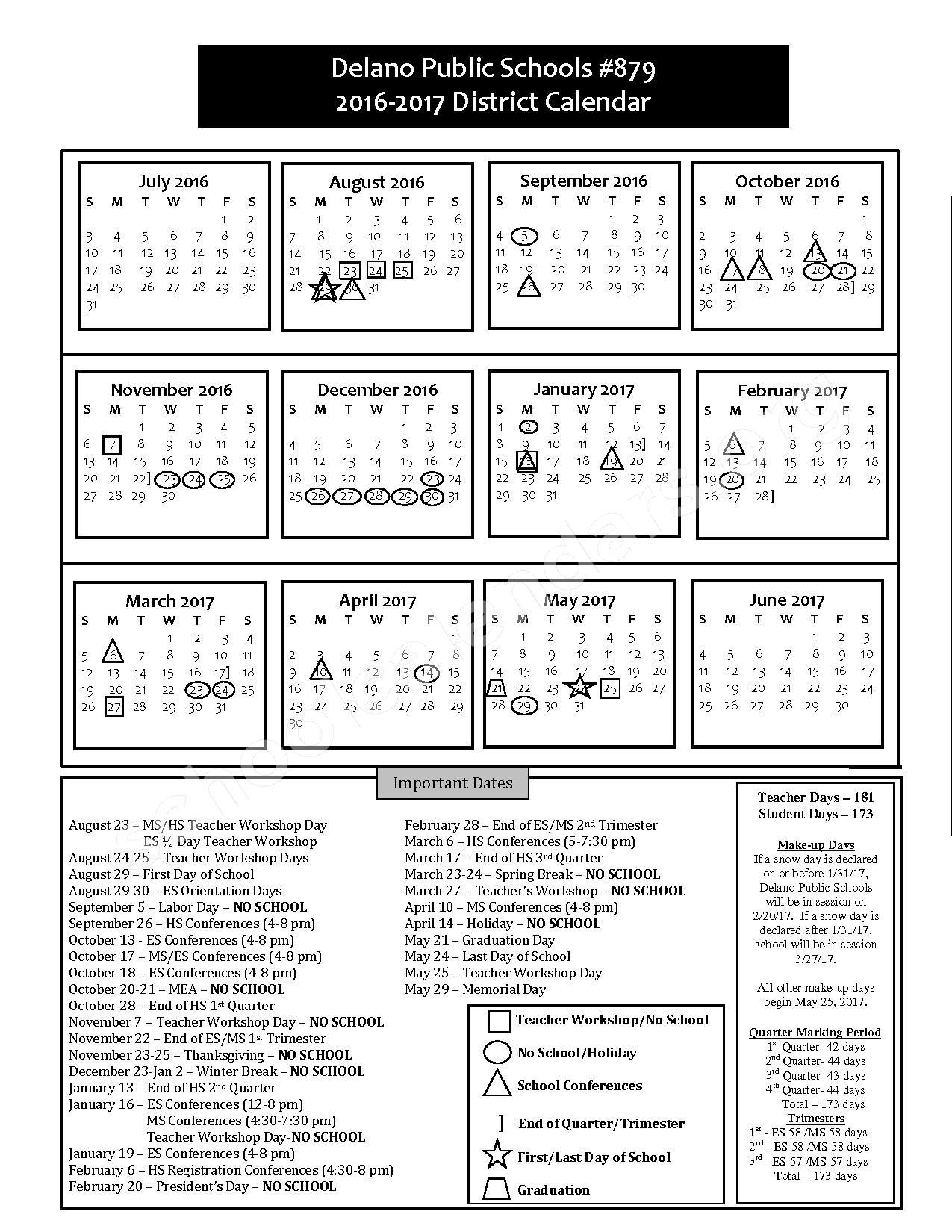 2016 - 2017 District Calendar – Delano Public School District – page 1