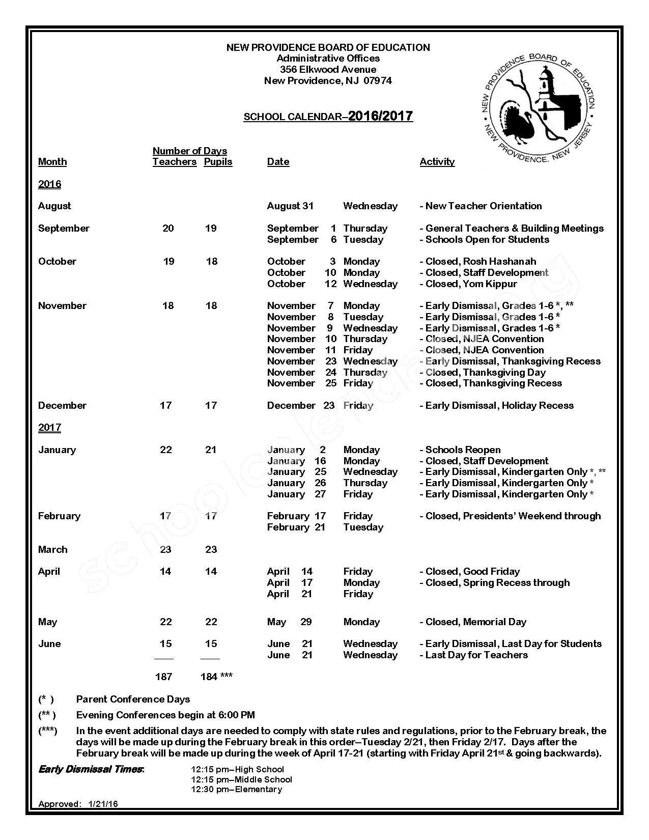 2016 - 2017 District Calendar – New Providence School District – page 1