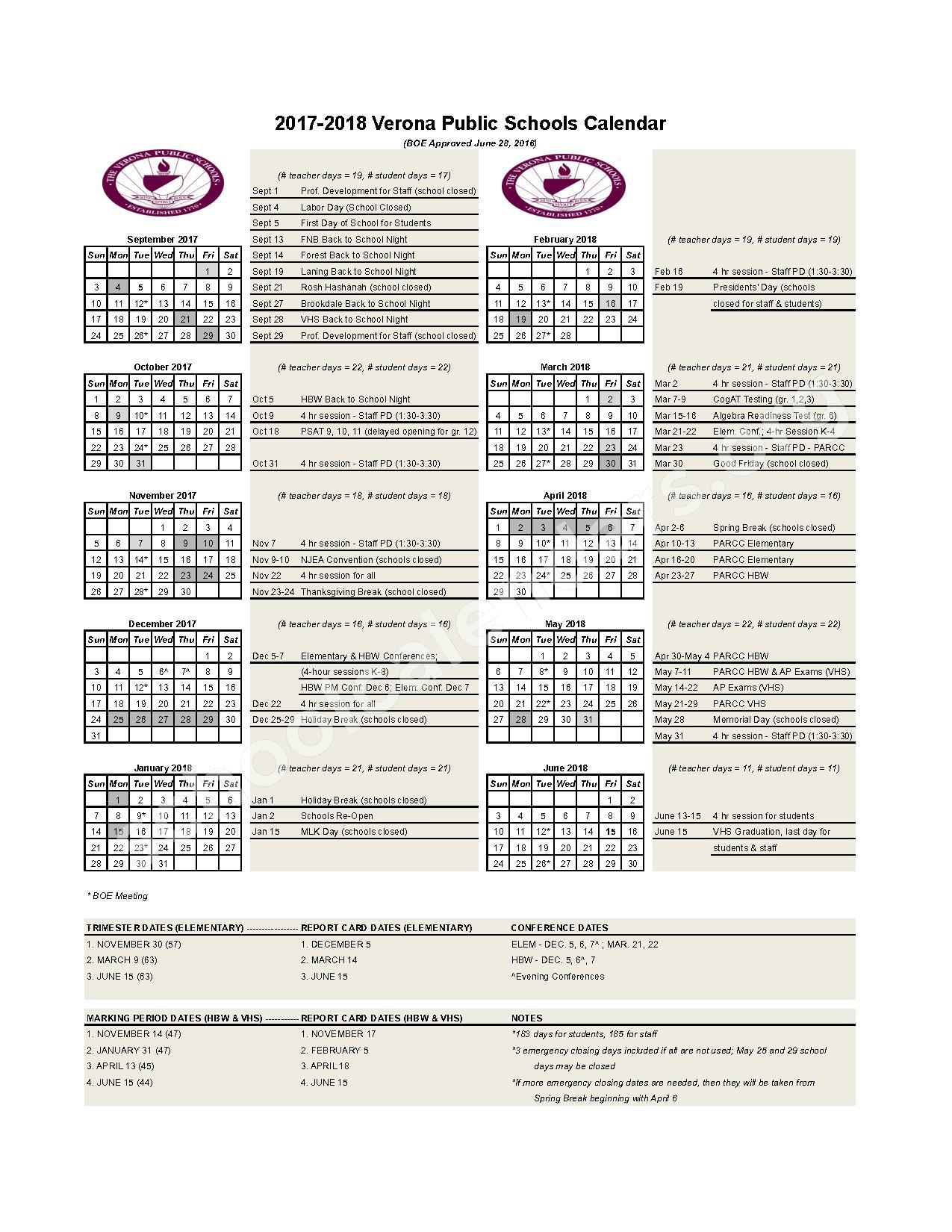 2017 - 2018 School Calendar – Verona Public Schools – page 1